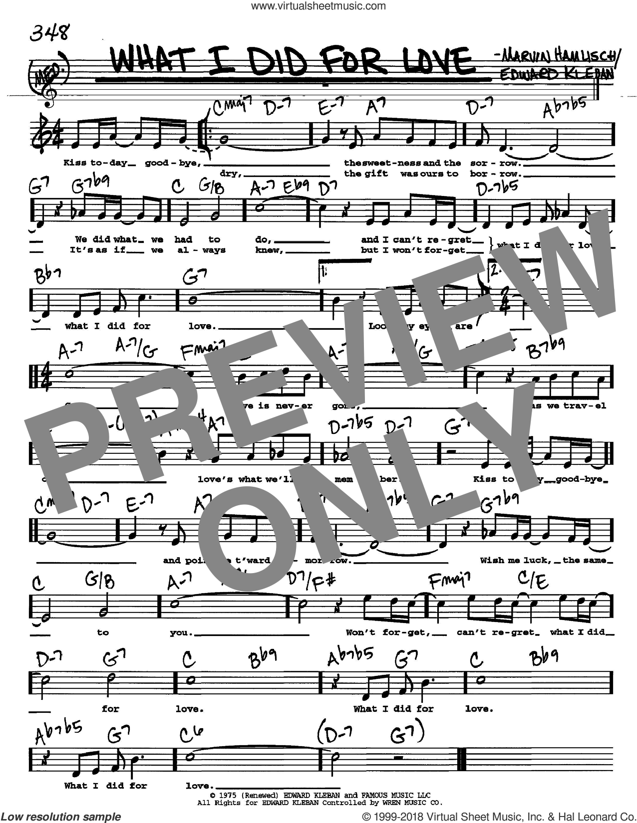 What I Did For Love sheet music for voice and other instruments (Vocal Volume 2) by Marvin Hamlisch and Edward Kleban, intermediate voice. Score Image Preview.
