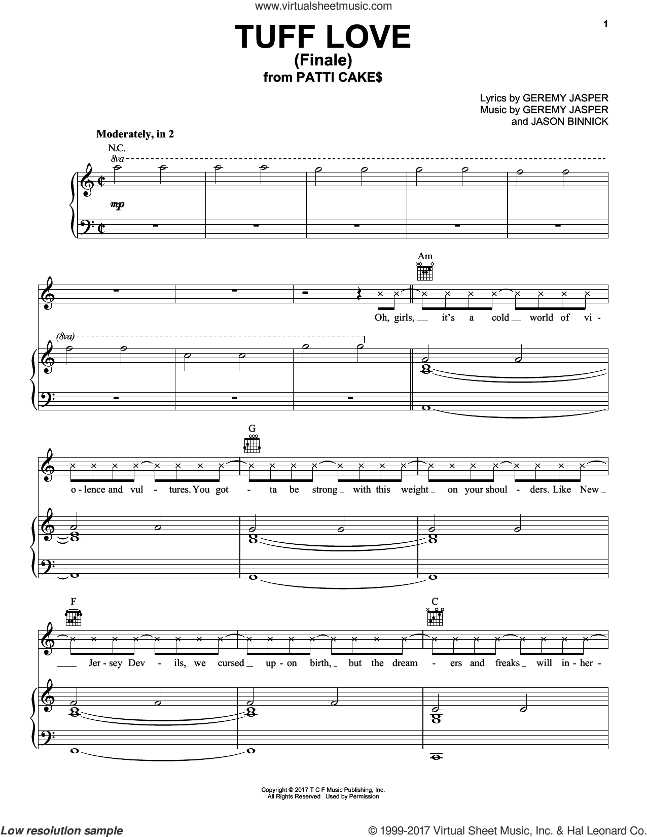 Tuff Love (Finale) sheet music for voice, piano or guitar by Jason Binnick and Geremy Jasper, intermediate skill level