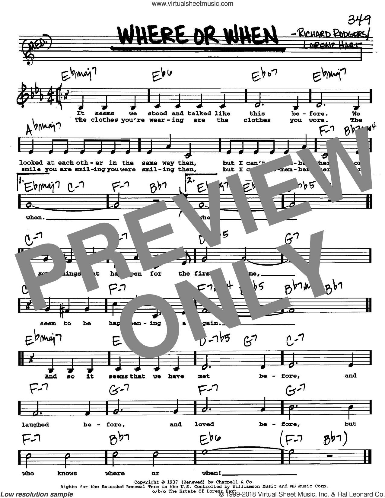 Where Or When sheet music for voice and other instruments (Vocal Volume 2) by Richard Rodgers, Dion & The Belmonts, Rodgers & Hart and Lorenz Hart. Score Image Preview.