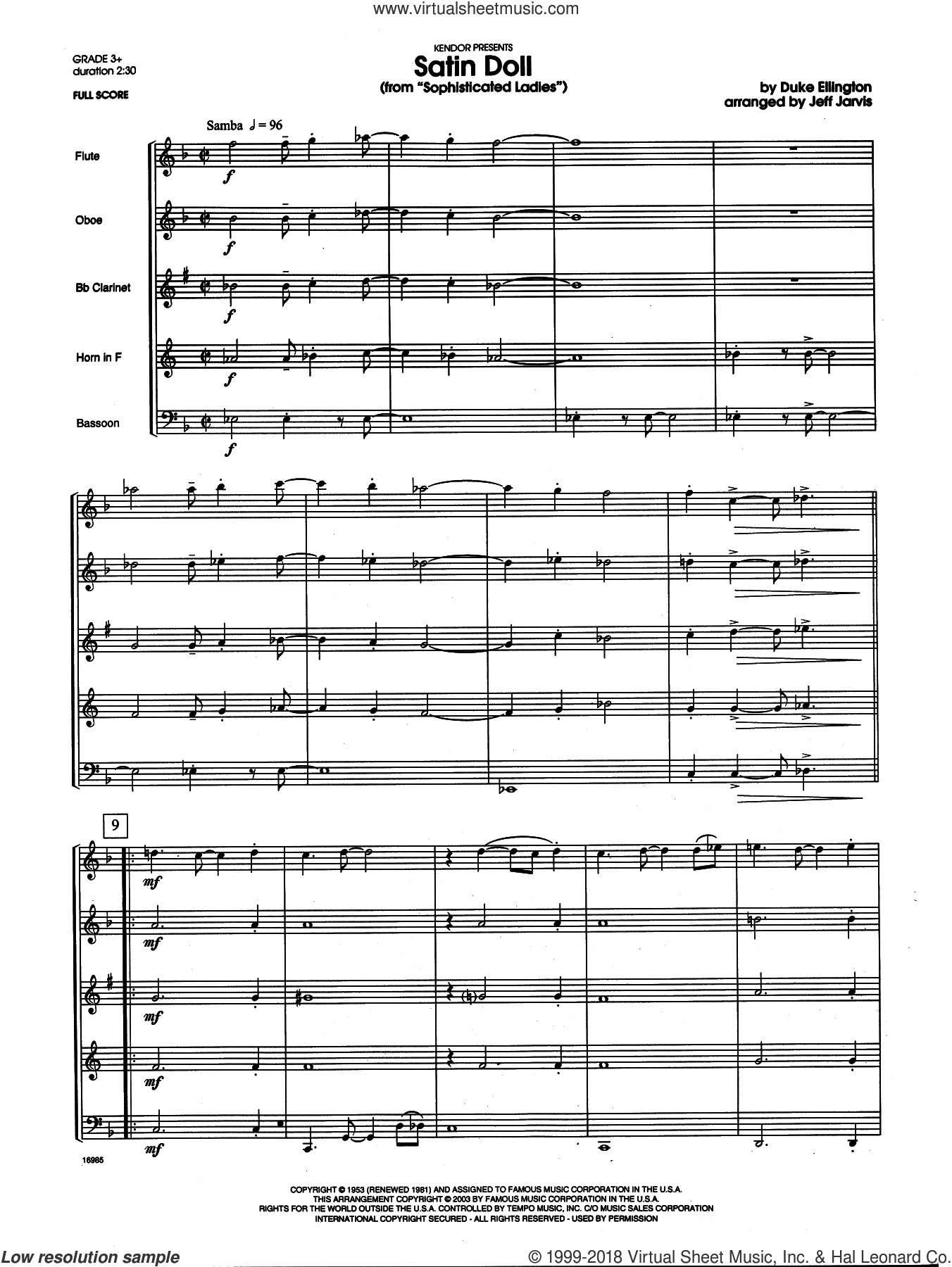 Satin Doll (COMPLETE) sheet music for wind quintet by Duke Ellington and Jeff Jarvis, intermediate skill level