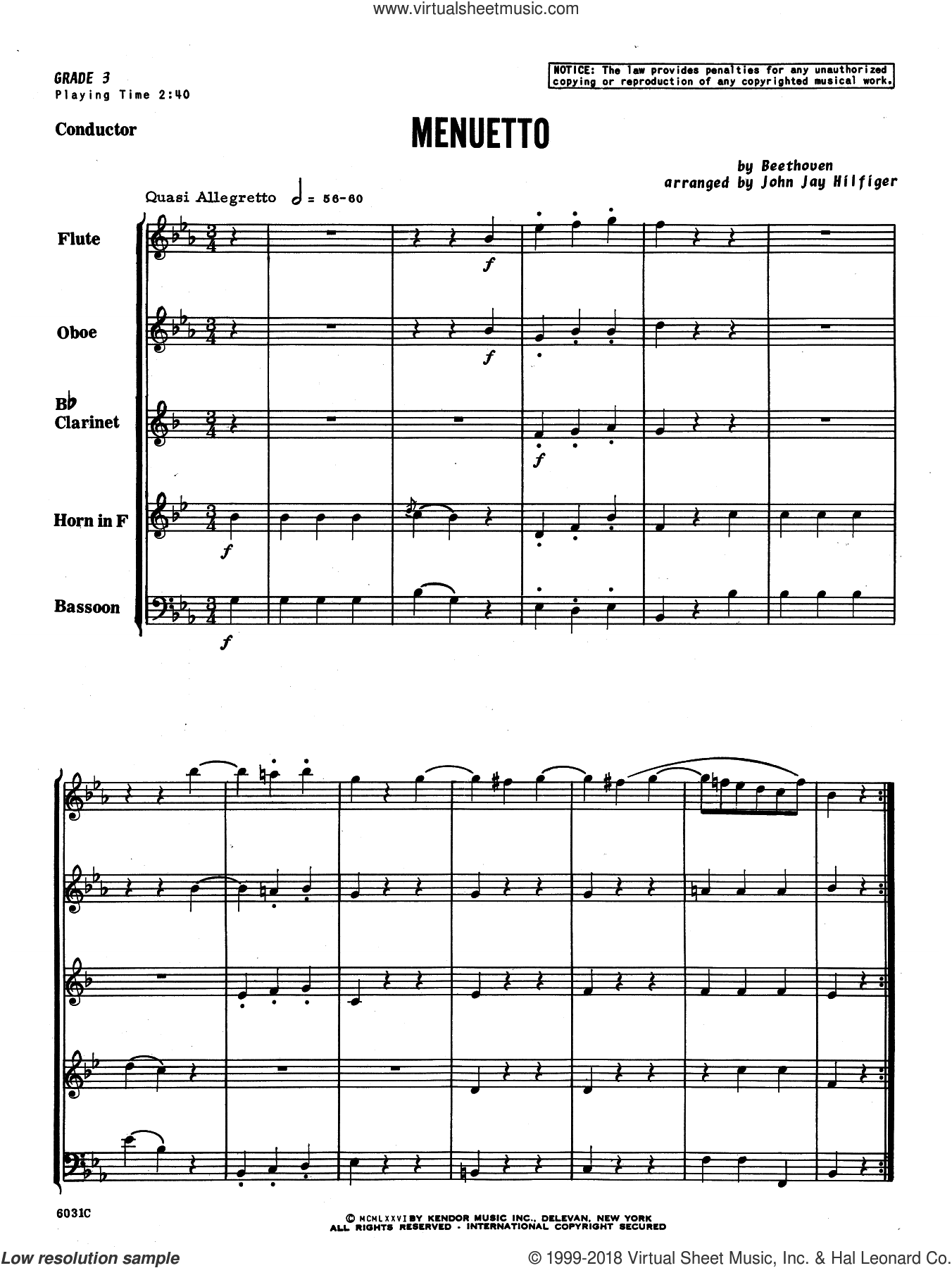 Menuetto (COMPLETE) sheet music for wind quintet by Ludwig van Beethoven and John Jay Hilfiger, classical score, intermediate skill level