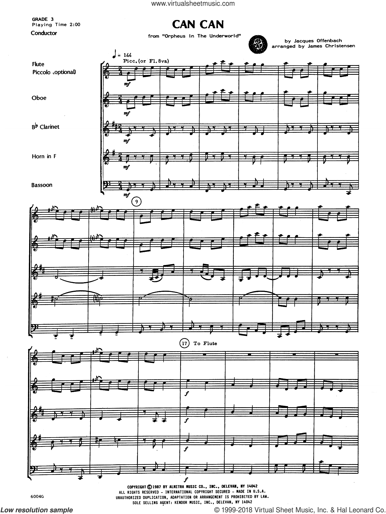 Can Can (COMPLETE) sheet music for wind quintet by Jacques Offenbach and James Christensen, classical score, intermediate skill level