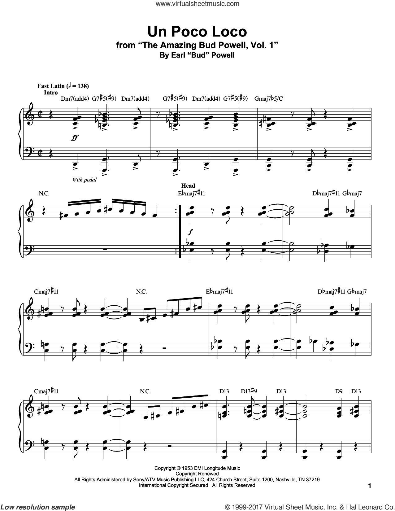 Un Poco Loco sheet music for piano solo (transcription) by Bud Powell, intermediate piano (transcription)