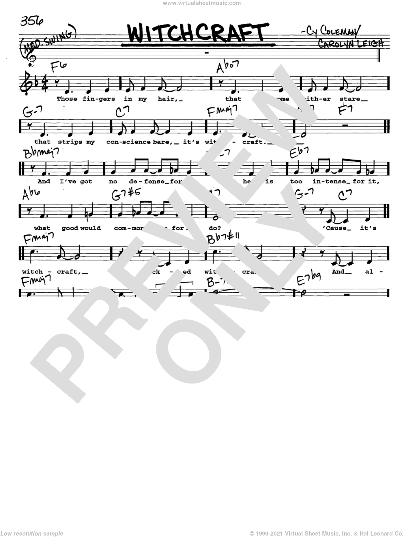 Witchcraft sheet music for voice and other instruments (Vocal Volume 2) by Carolyn Leigh, Frank Sinatra and Cy Coleman. Score Image Preview.