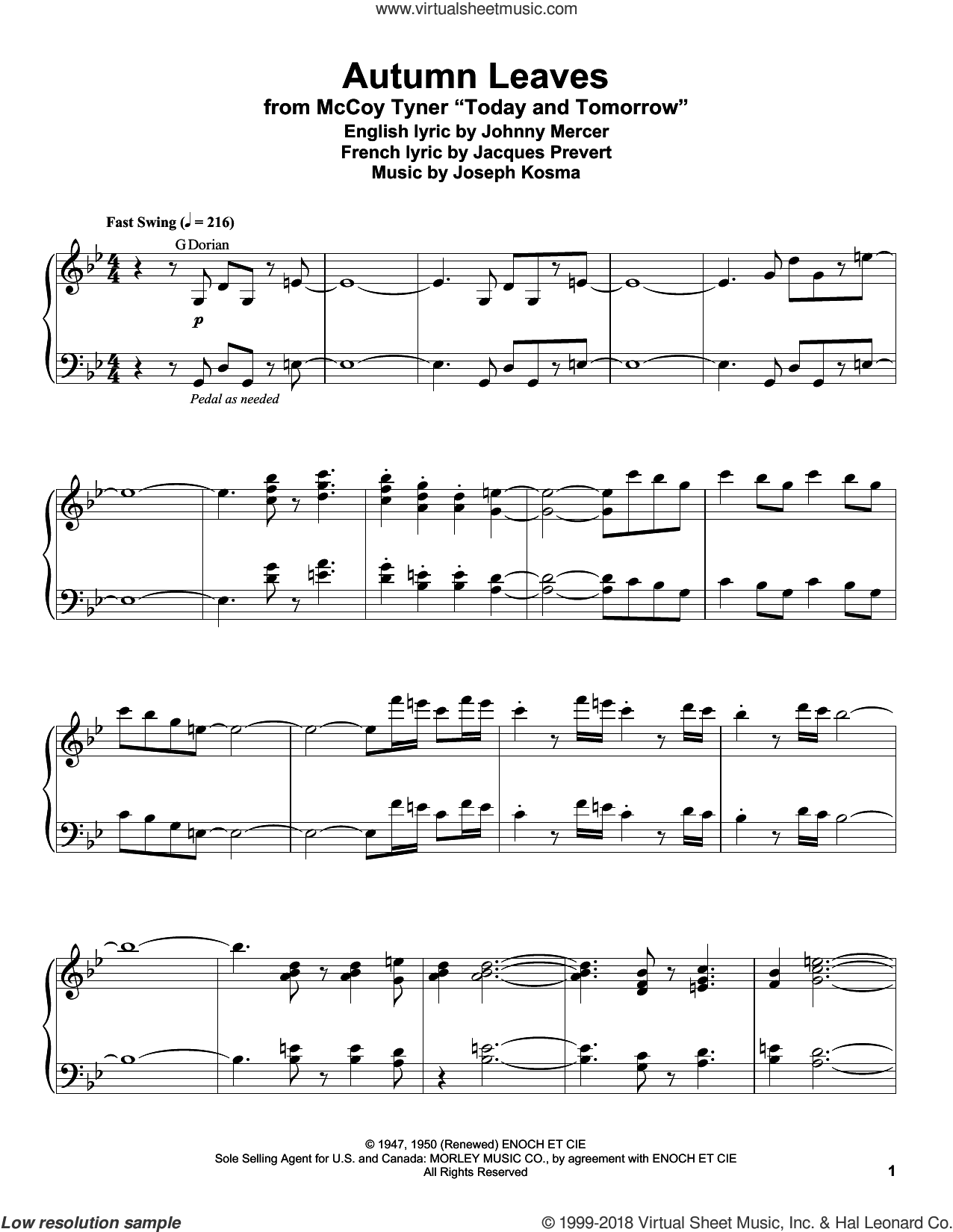 Autumn Leaves sheet music for piano solo (transcription) by Johnny Mercer, Mitch Miller, Roger Williams, Steve Allen & George Cates, Jacques Prevert and Joseph Kosma, intermediate piano (transcription)