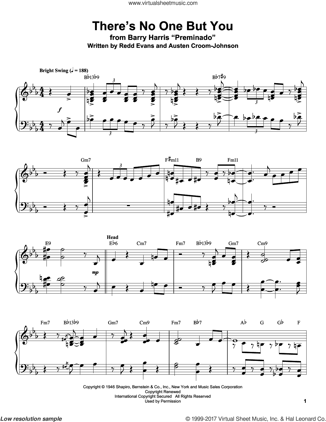 There's No One But You sheet music for piano solo (transcription) by Redd Evans. Score Image Preview.