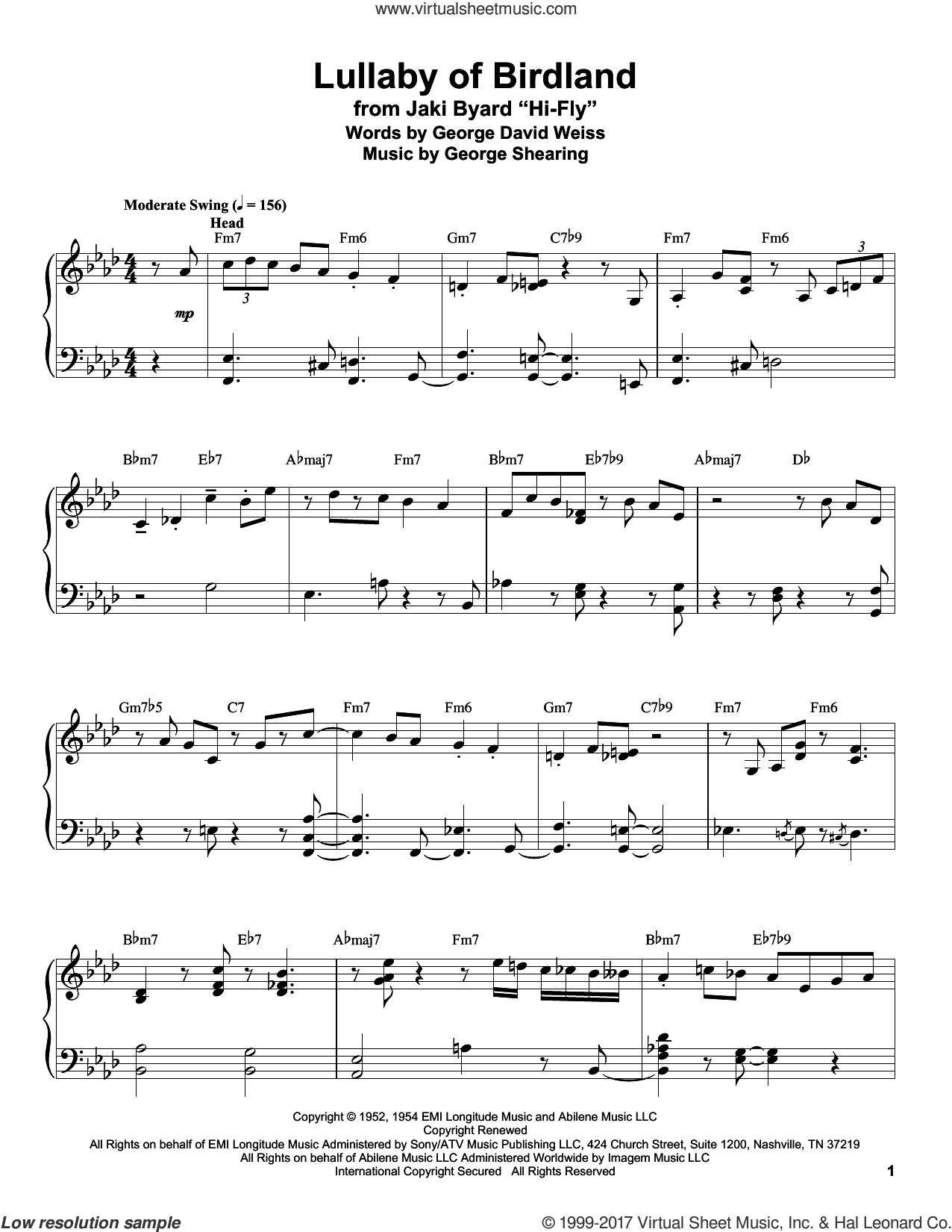 Lullaby Of Birdland sheet music for piano solo (transcription) by George David Weiss and George Shearing, intermediate piano (transcription)