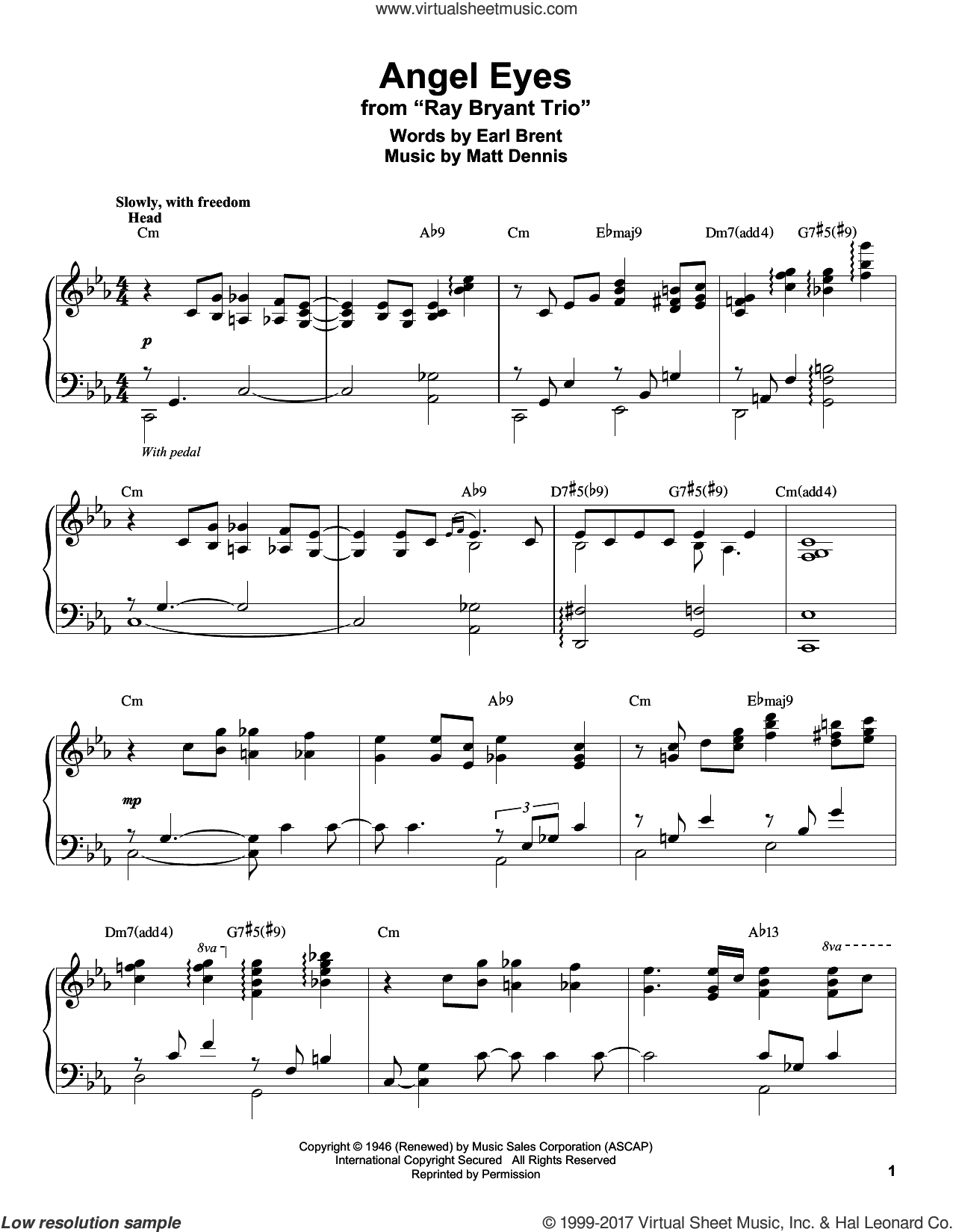 Angel Eyes sheet music for piano solo (transcription) by Matt Dennis and Earl Brent, intermediate piano (transcription). Score Image Preview.