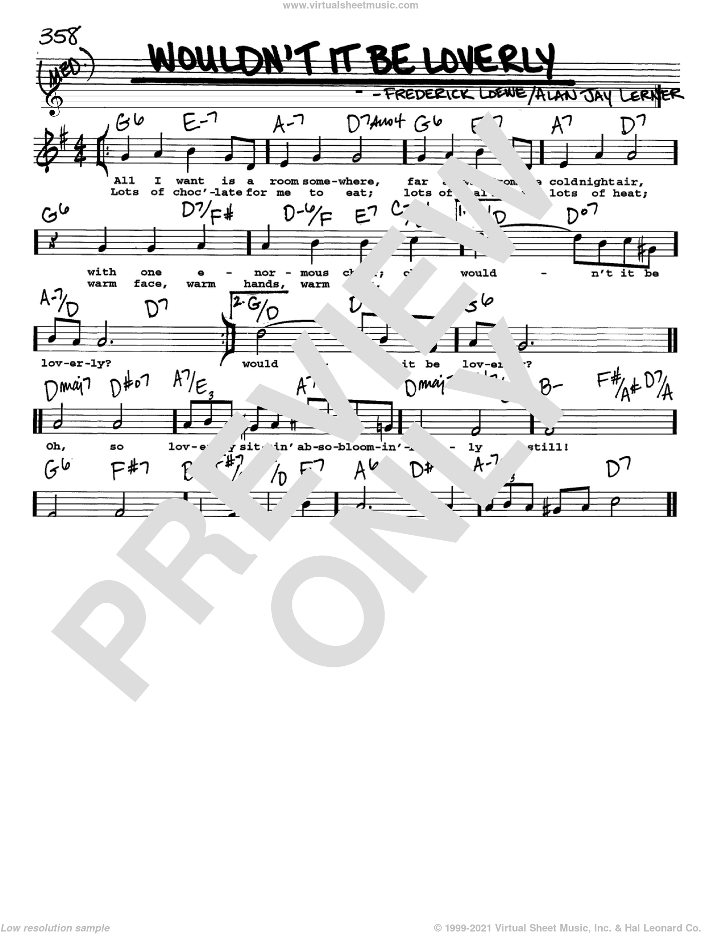 Wouldn't It Be Loverly sheet music for voice and other instruments (Vocal Volume 2) by Lerner & Loewe, Alan Jay Lerner and Frederick Loewe, intermediate. Score Image Preview.