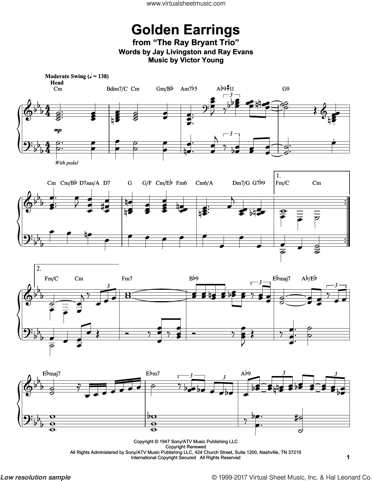Golden Earrings sheet music for piano solo (transcription) by Jay Livingston, Peggy Lee, Ray Evans and Victor Young, intermediate piano (transcription)