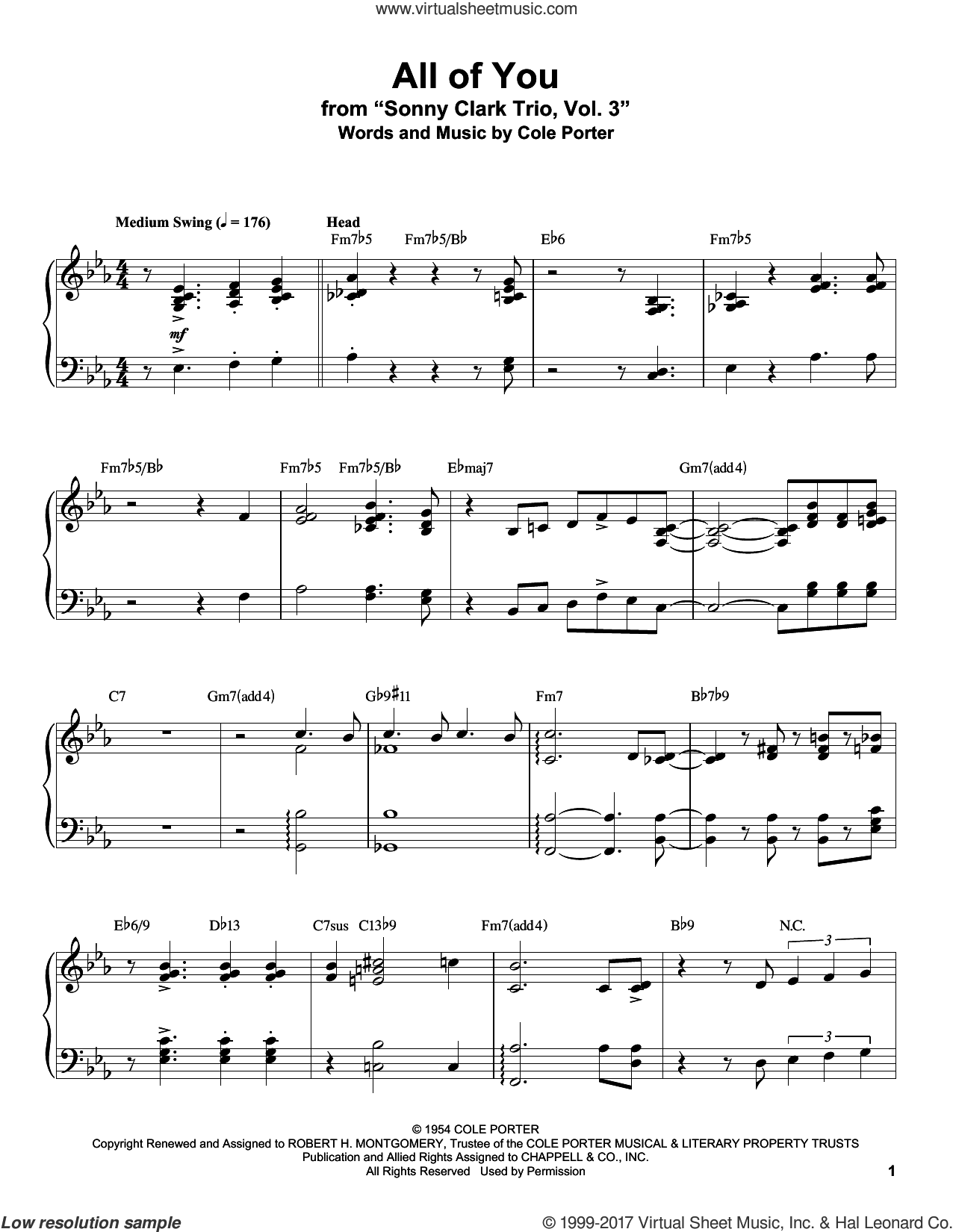 All Of You sheet music for piano solo (transcription) by Cole Porter, Don Ameche and Fred Astaire & Carol Richards, intermediate piano (transcription)