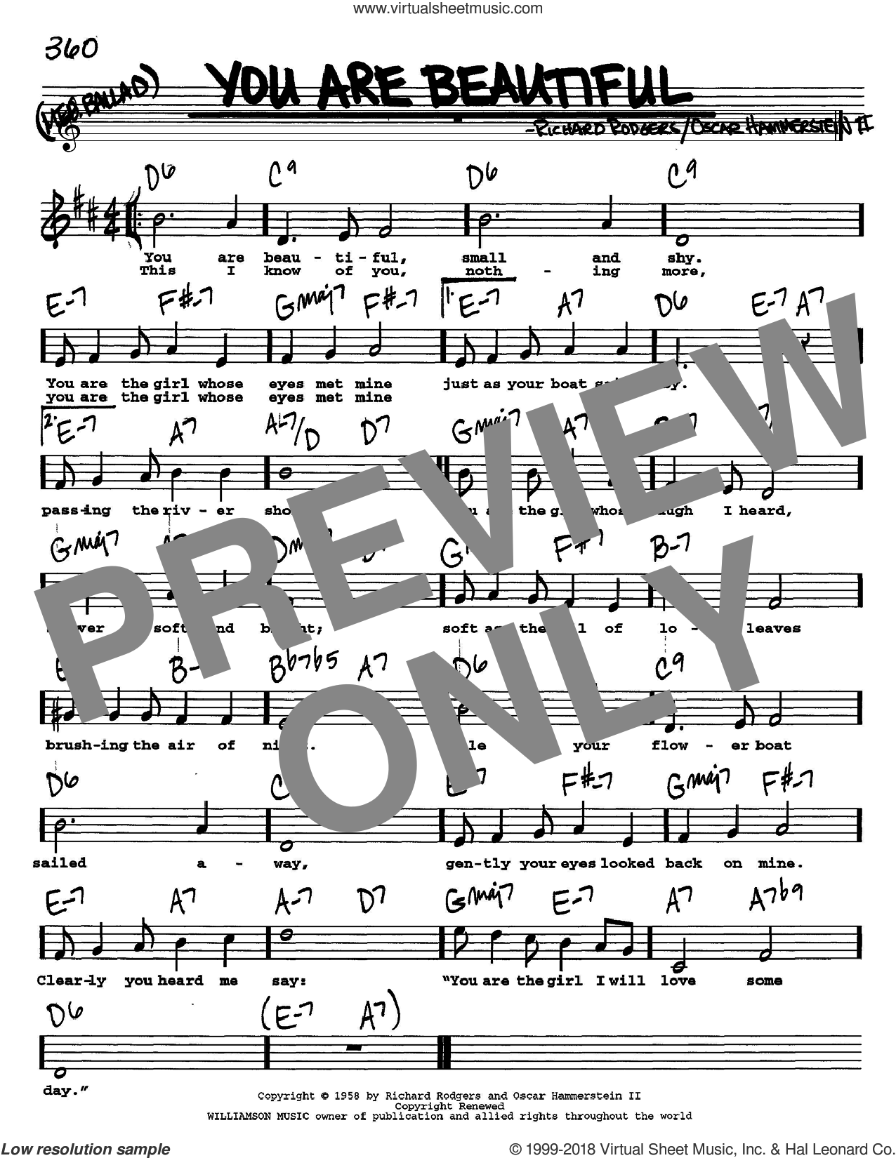 You Are Beautiful sheet music for voice and other instruments (Vocal Volume 2) by Richard Rodgers, Rodgers & Hammerstein and Oscar II Hammerstein. Score Image Preview.