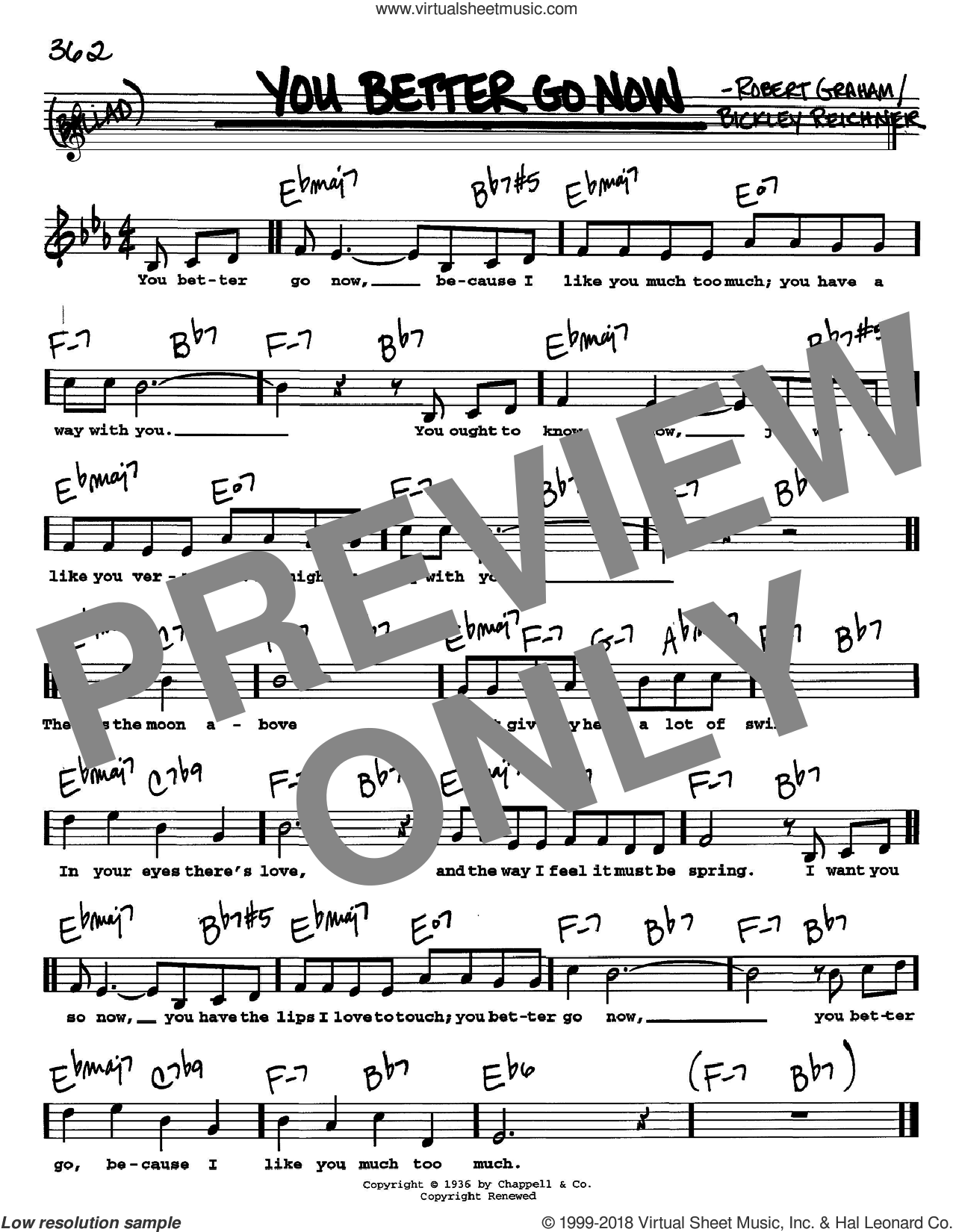 You Better Go Now sheet music for voice and other instruments  by Bickley Reichner and Robert Graham, intermediate skill level