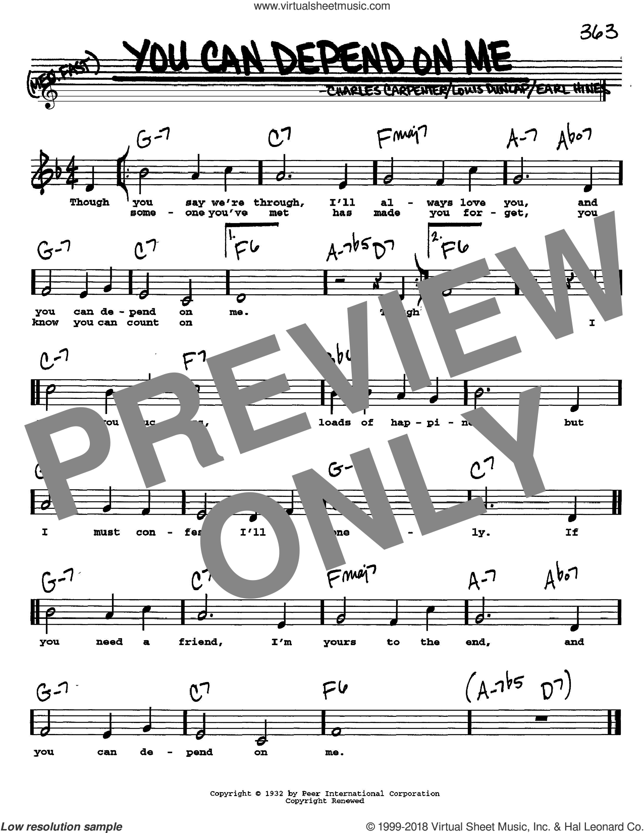 You Can Depend On Me sheet music for voice and other instruments (Vocal Volume 2) by Louis Dunlap and Earl Hines. Score Image Preview.