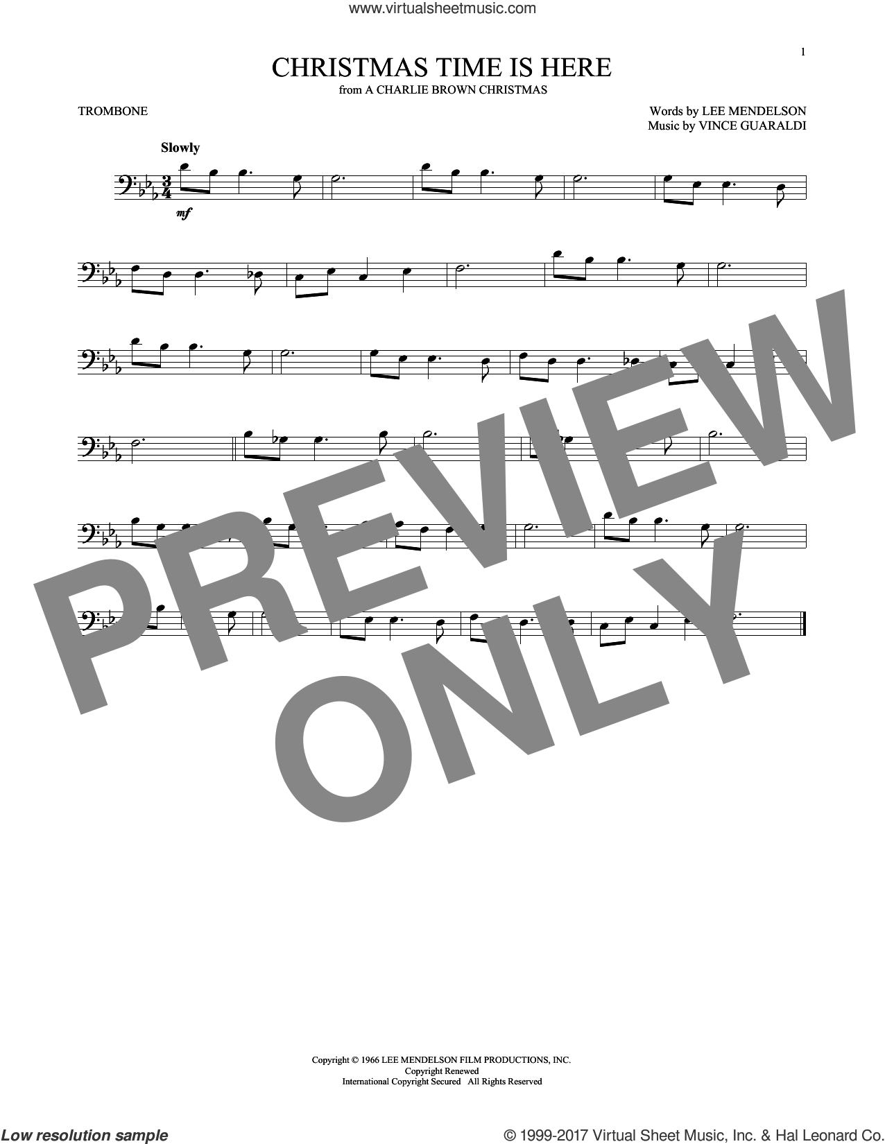 Christmas Time Is Here sheet music for trombone solo by Vince Guaraldi and Lee Mendelson, intermediate. Score Image Preview.