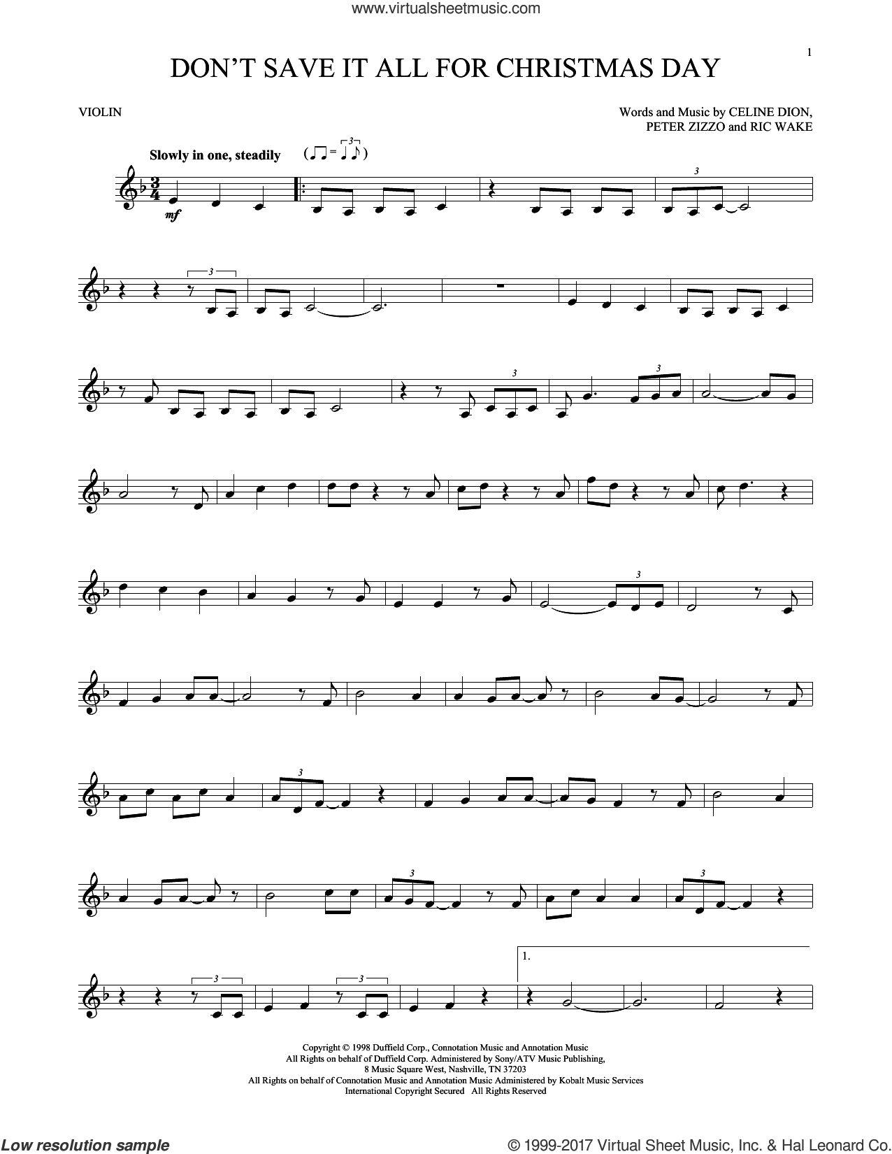 Don't Save It All For Christmas Day sheet music for violin solo by Celine Dion, Avalon, Peter Zizzo and Ric Wake, intermediate skill level