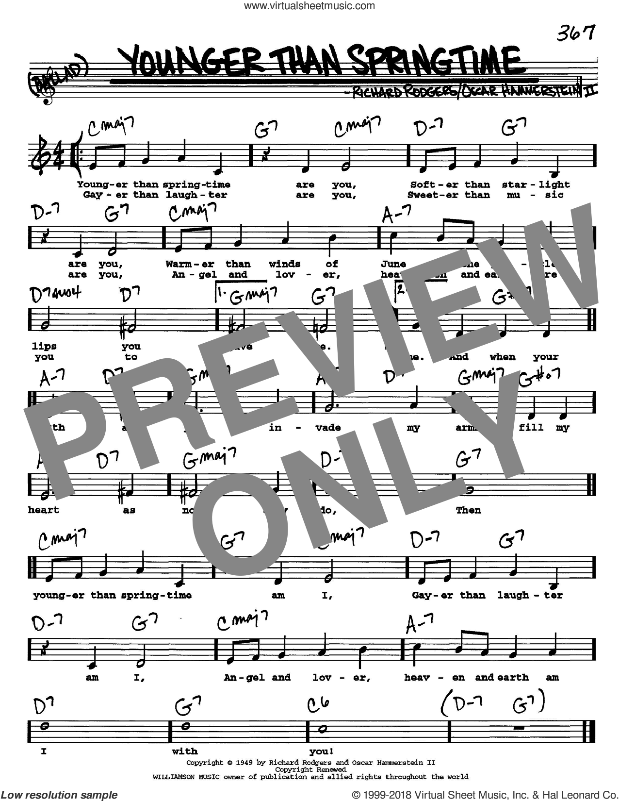 Younger Than Springtime sheet music for voice and other instruments (Vocal Volume 2) by Rodgers & Hammerstein, Oscar II Hammerstein and Richard Rodgers. Score Image Preview.
