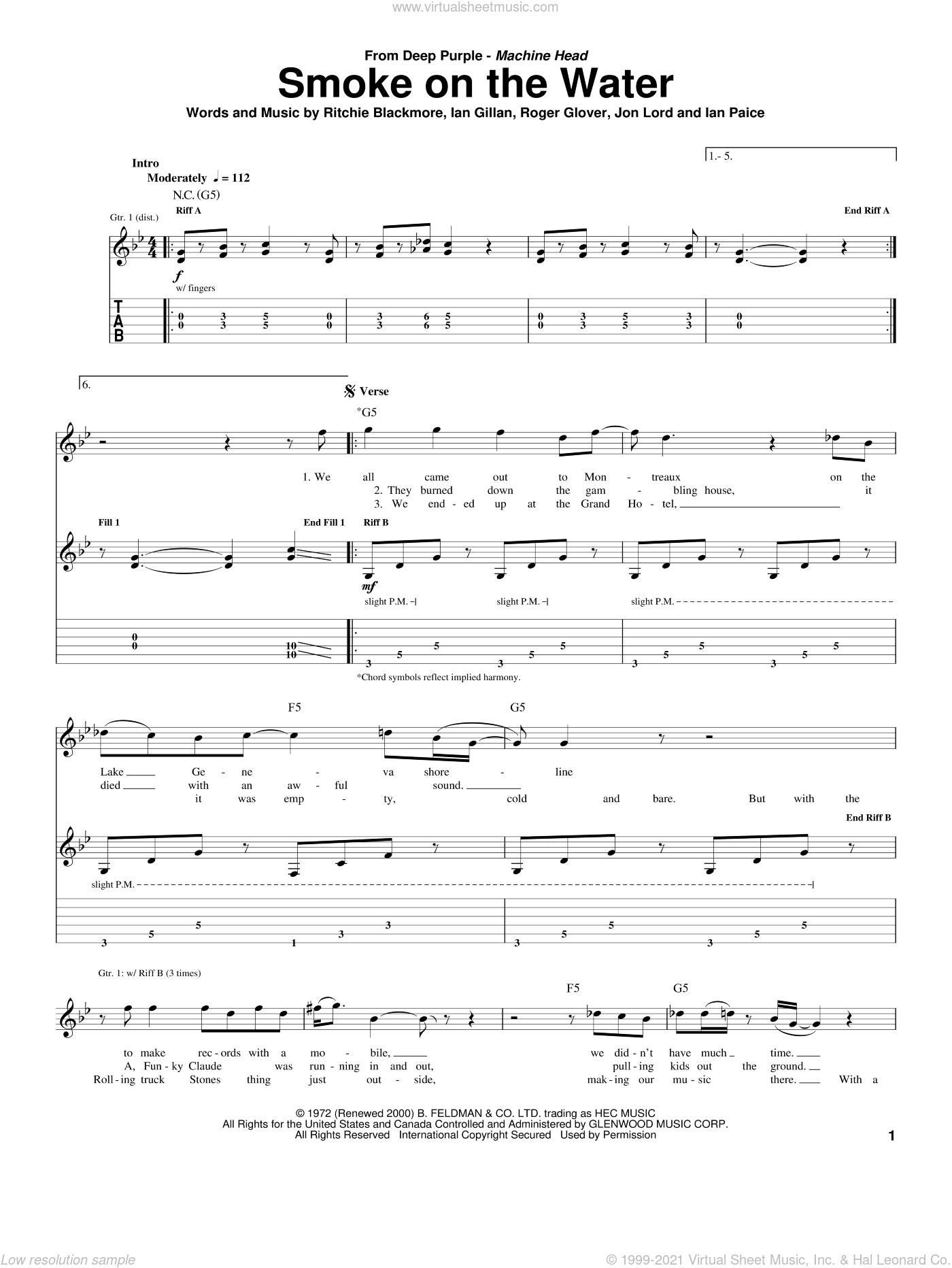 Smoke On The Water sheet music for guitar (tablature) by Deep Purple, Ian Gillan, Ian Paice, Jon Lord, Ritchie Blackmore and Roger Glover, intermediate skill level