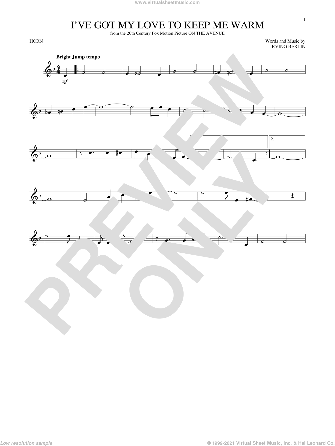 I've Got My Love To Keep Me Warm sheet music for horn solo by Irving Berlin and Benny Goodman, intermediate skill level