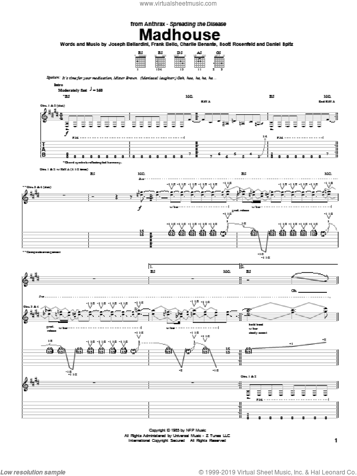 Madhouse sheet music for guitar (tablature) by Scott Rosenfeld. Score Image Preview.
