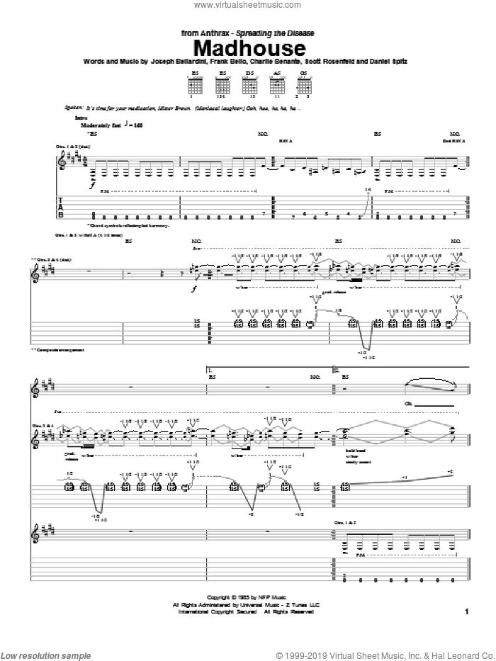 Madhouse sheet music for guitar (tablature) by Anthrax, Guitar Hero, Charles Benante, Dan Spitz, Frank Bello, Joe Bellardini and Scott Rosenfeld, intermediate skill level