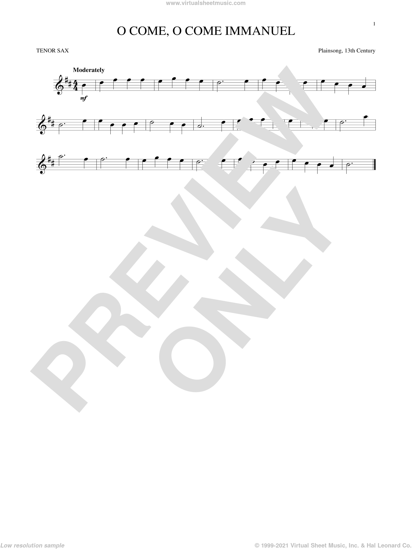 O Come, O Come Immanuel sheet music for tenor saxophone solo by Plainsong, 13th Century, Henry S. Coffin (trans.) and John M. Neale (trans), intermediate skill level