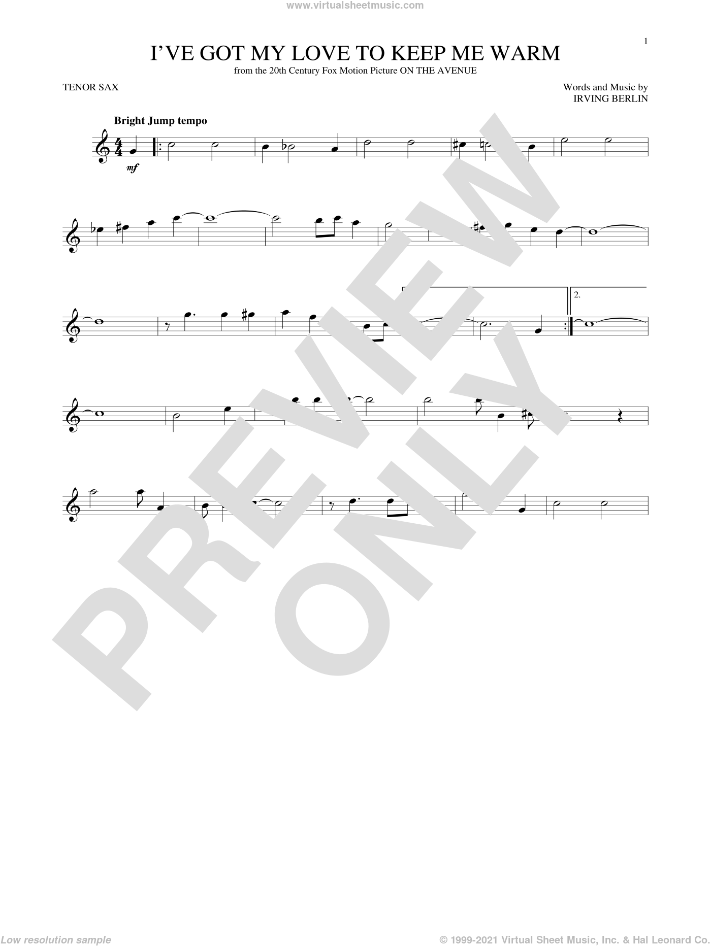 I've Got My Love To Keep Me Warm sheet music for tenor saxophone solo by Irving Berlin and Benny Goodman, intermediate skill level
