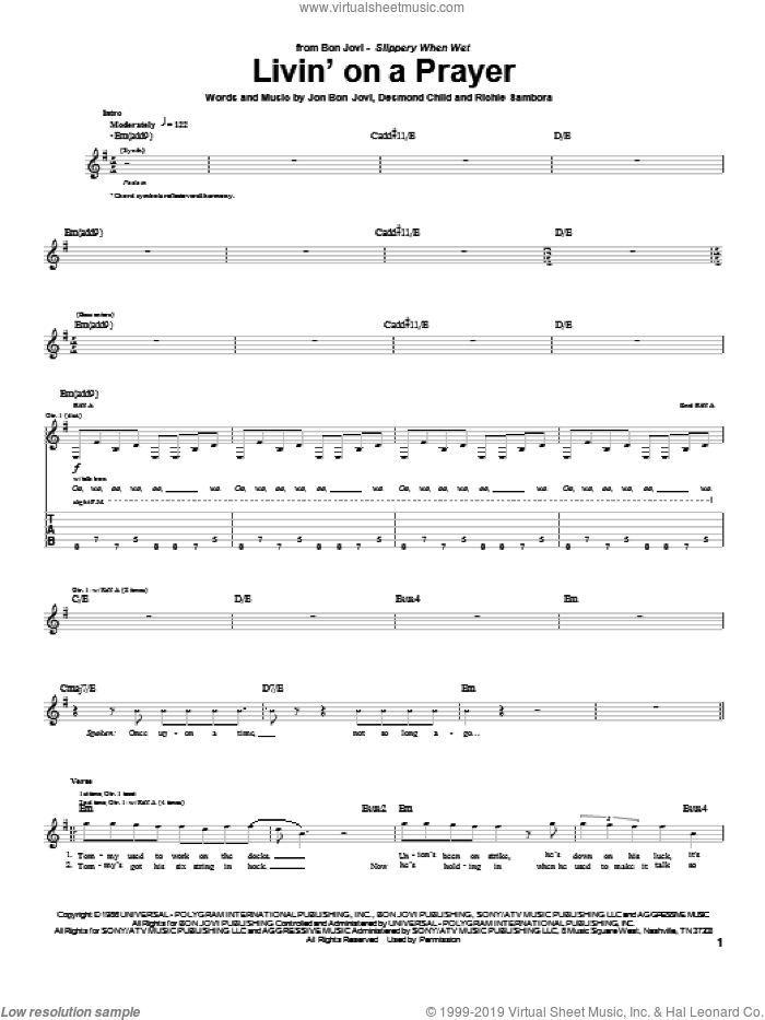Livin' On A Prayer sheet music for guitar (tablature) by Bon Jovi, Desmond Child and Richie Sambora, intermediate skill level