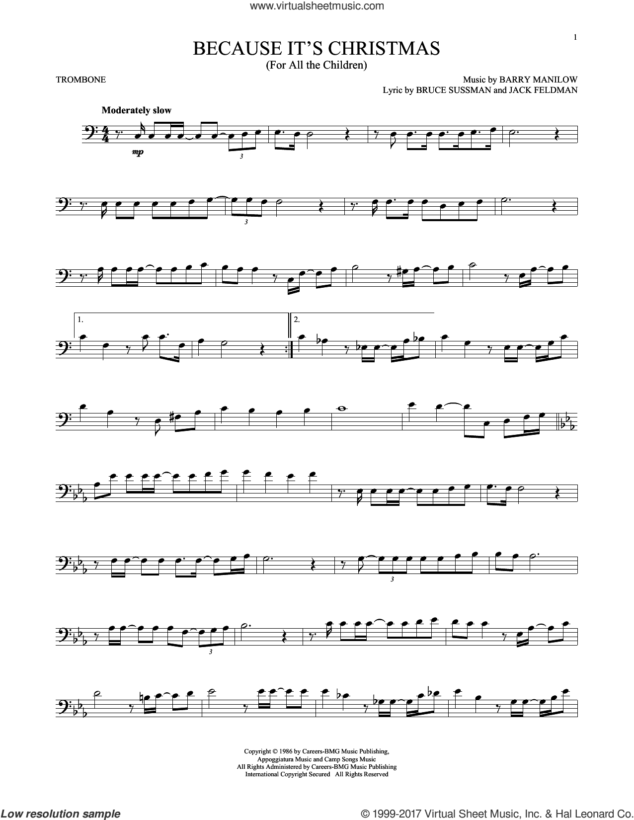 Because It's Christmas (For All The Children) sheet music for trombone solo by Barry Manilow, Bruce Sussman and Jack Feldman, intermediate skill level
