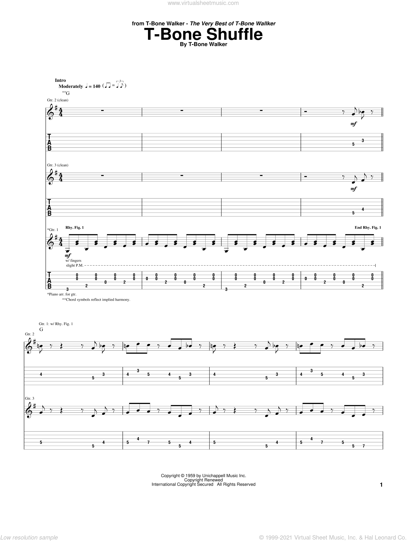 T-Bone Shuffle sheet music for guitar (tablature) by Aaron 'T-Bone' Walker, intermediate skill level