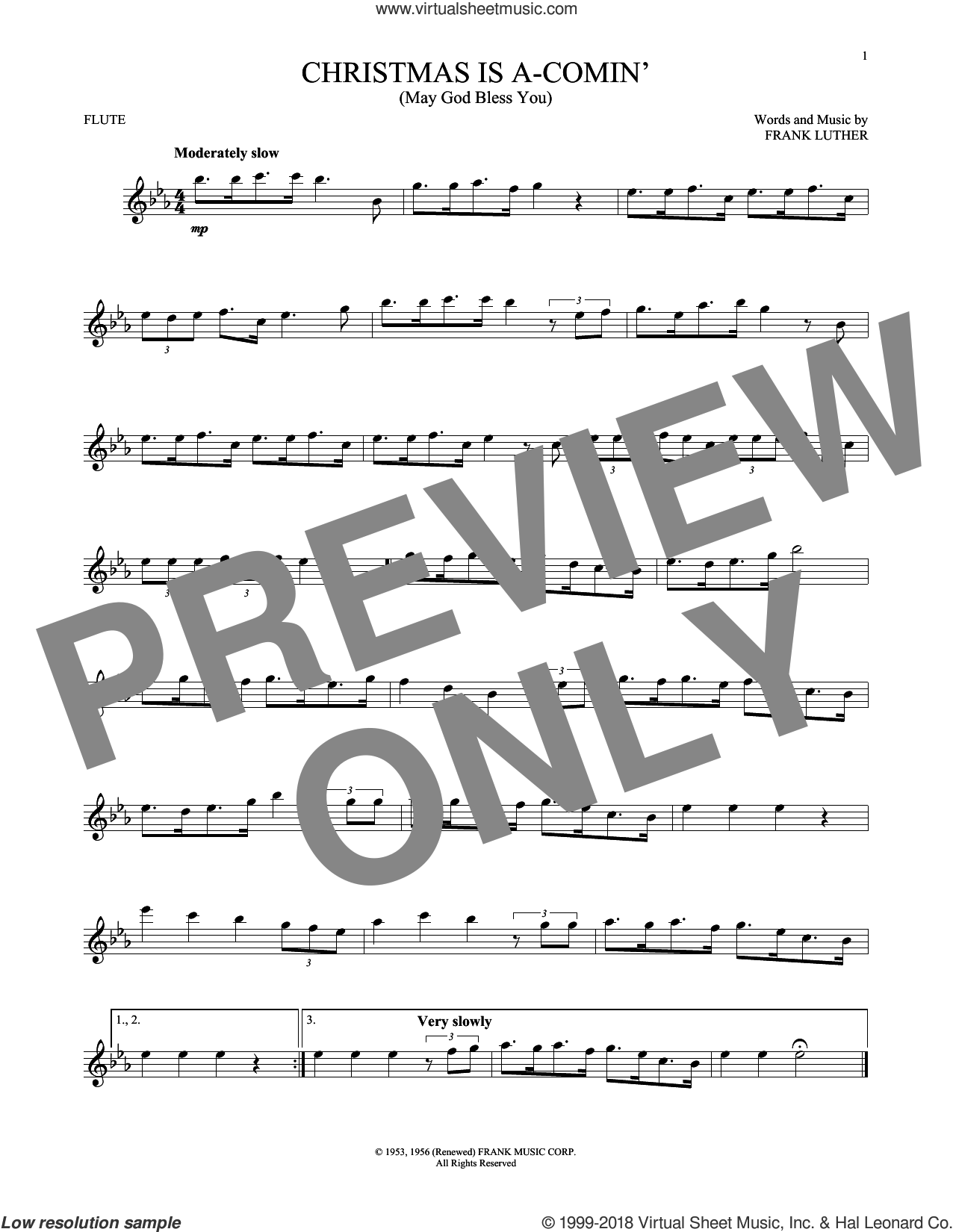 Christmas Is A-Comin' (May God Bless You) sheet music for flute solo by Frank Luther, intermediate skill level