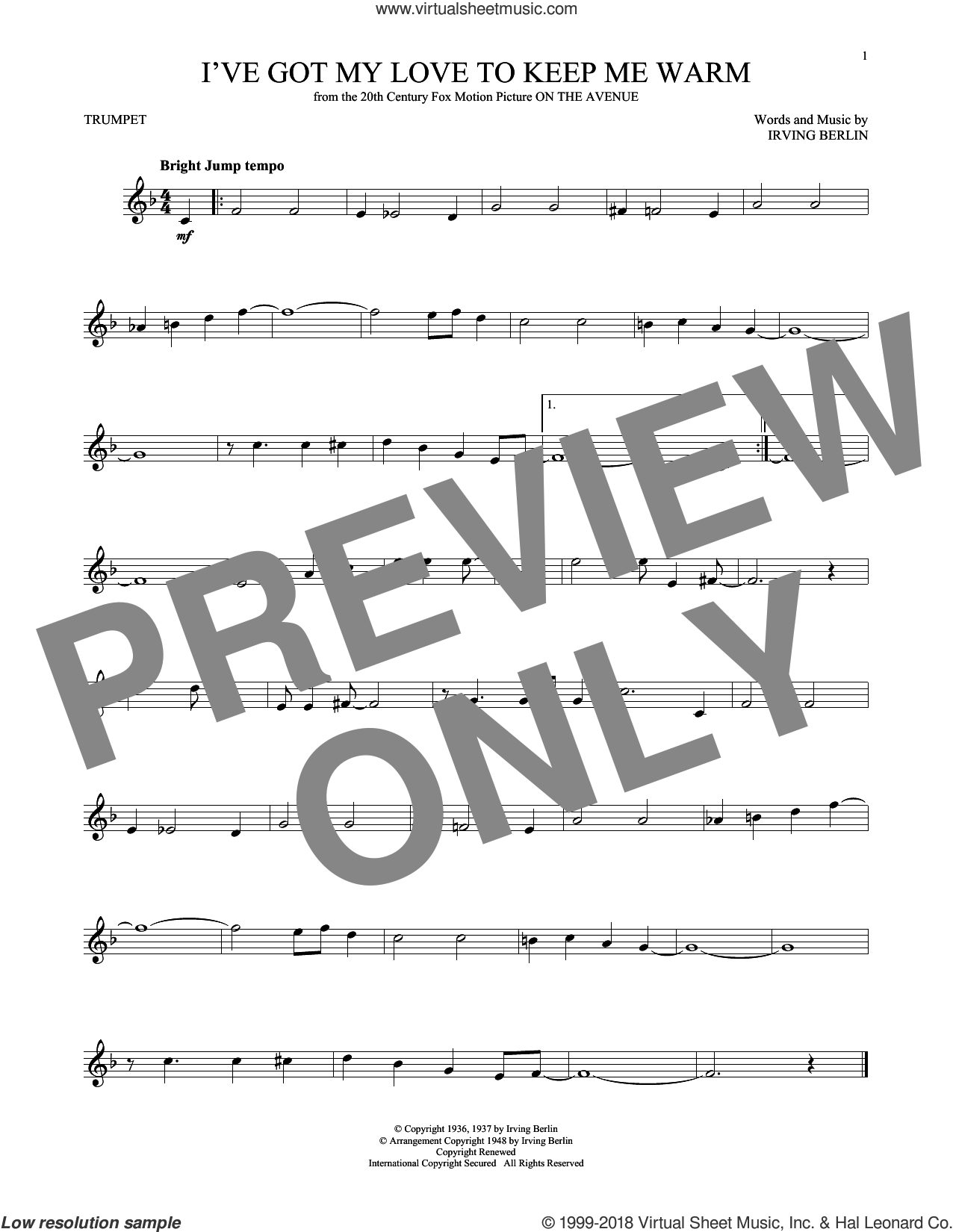 I've Got My Love To Keep Me Warm sheet music for trumpet solo by Irving Berlin and Benny Goodman, intermediate skill level