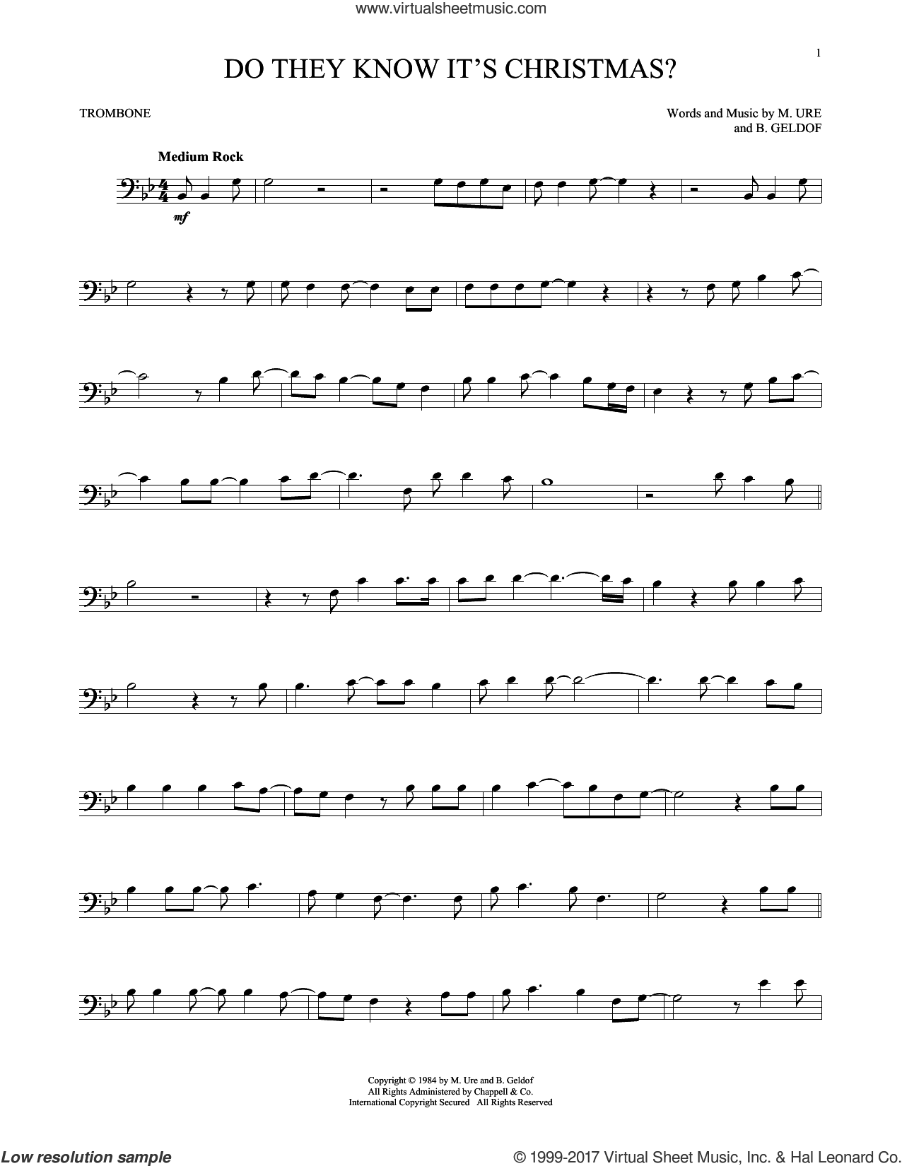 Do They Know It's Christmas? (Feed The World) sheet music for trombone solo by Midge Ure and Bob Geldof. Score Image Preview.
