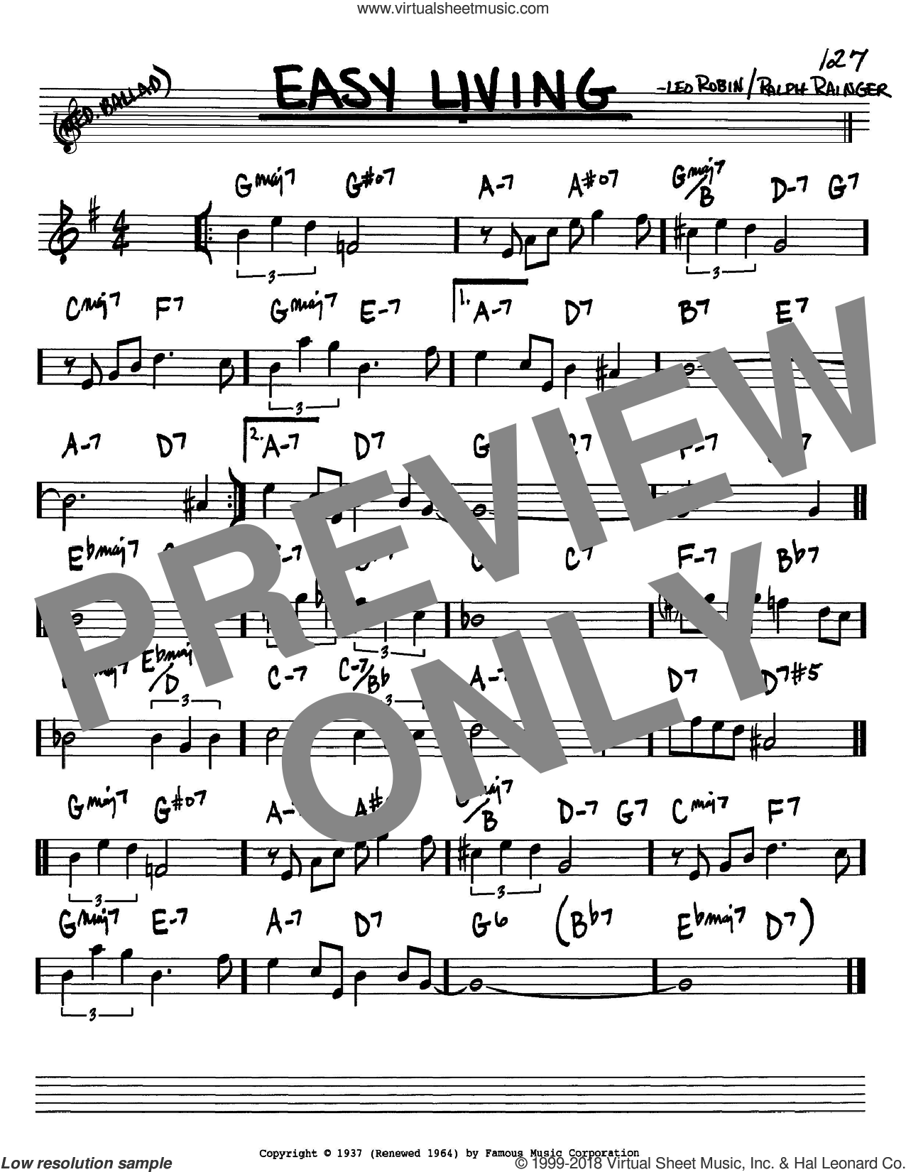 Easy Living sheet music for voice and other instruments (Bb) by Billie Holiday, Leo Robin and Ralph Rainger, intermediate voice. Score Image Preview.