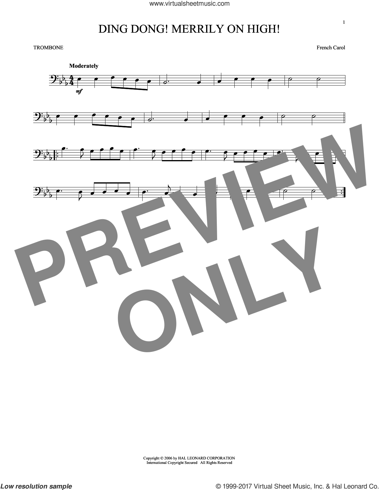 Ding Dong! Merrily On High! sheet music for trombone solo, intermediate. Score Image Preview.