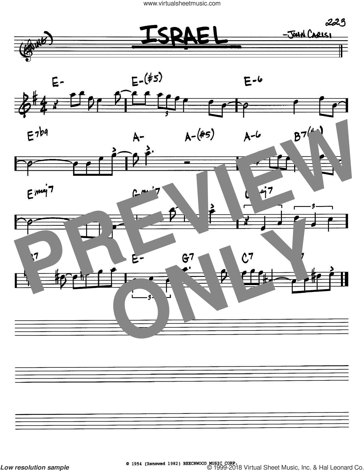 Israel sheet music for voice and other instruments (Bb) by John Carisi and Miles Davis. Score Image Preview.