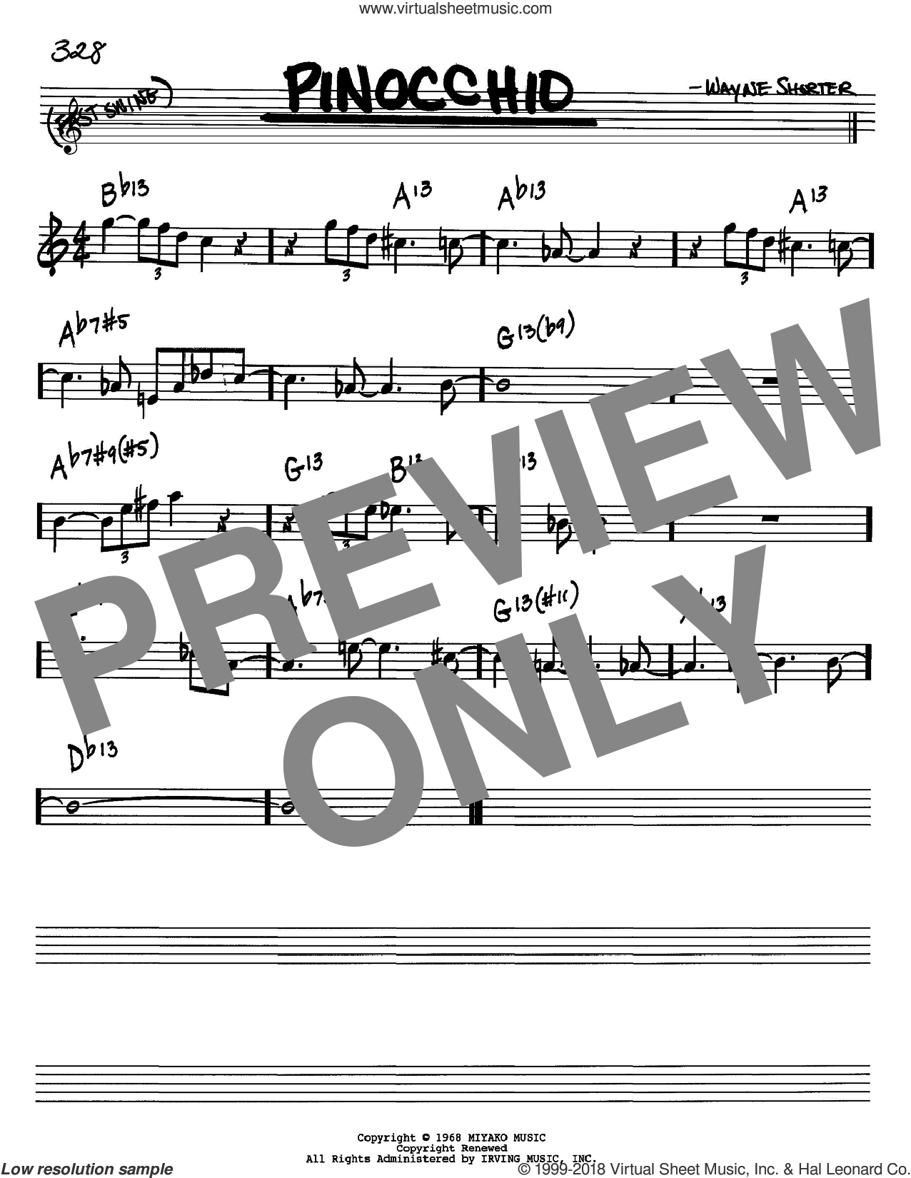 Pinocchio sheet music for voice and other instruments (Bb) by Wayne Shorter. Score Image Preview.