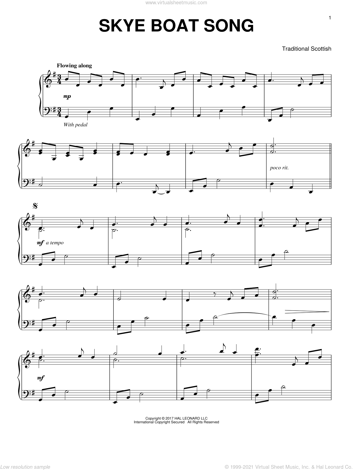 The Skye Boat Song, (intermediate) sheet music for piano solo, intermediate. Score Image Preview.