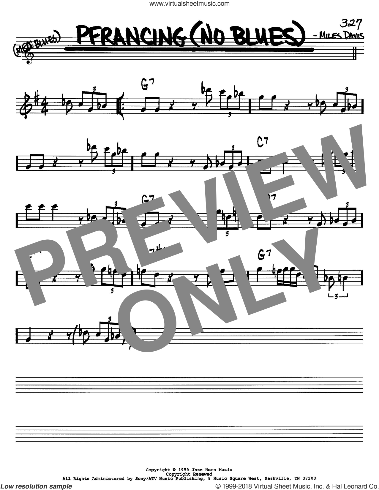 Pfrancing (No Blues) sheet music for voice and other instruments (Bb) by Miles Davis, intermediate voice. Score Image Preview.
