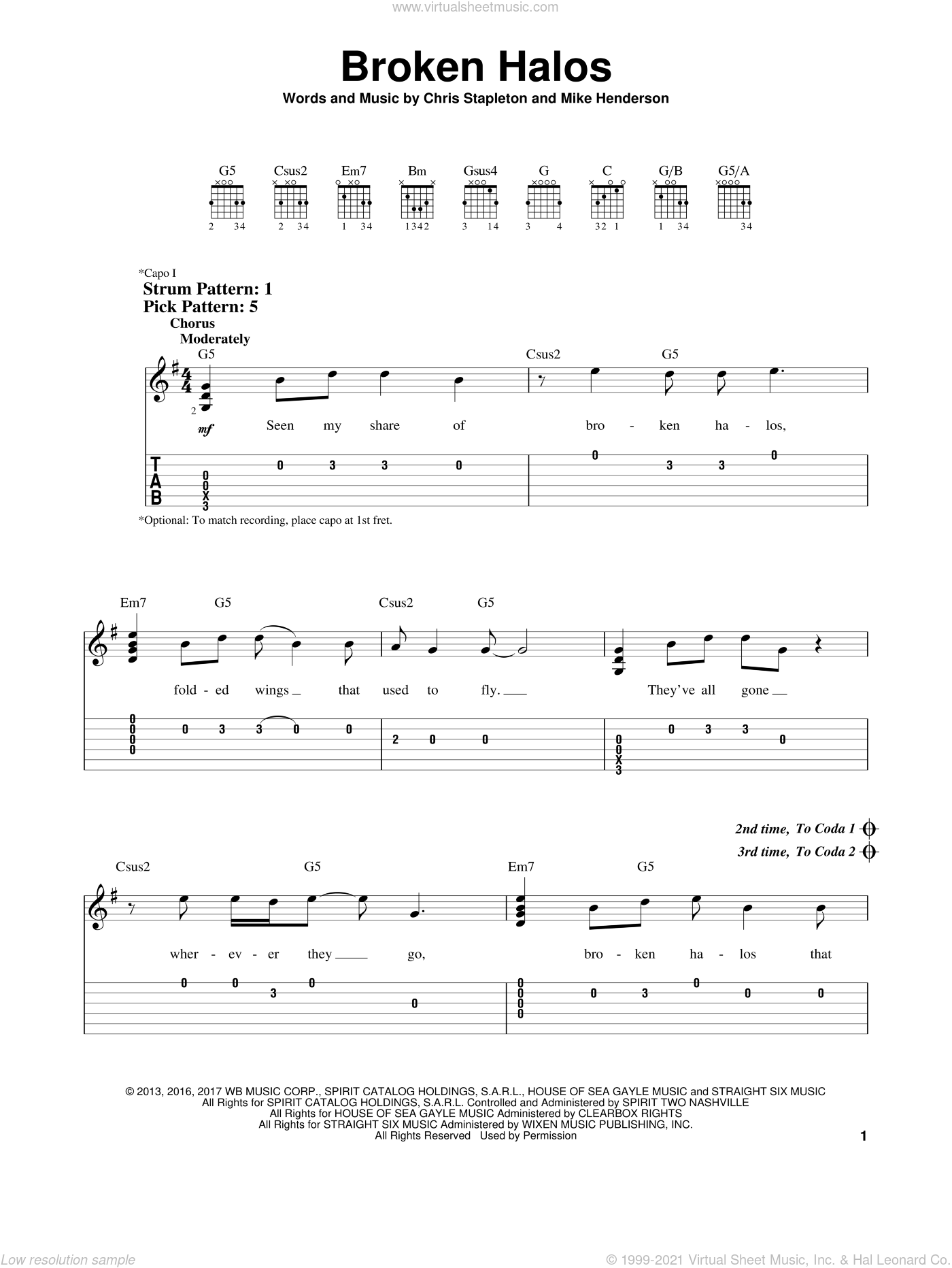 Broken Halos sheet music for guitar solo (easy tablature) by Chris Stapleton. Score Image Preview.