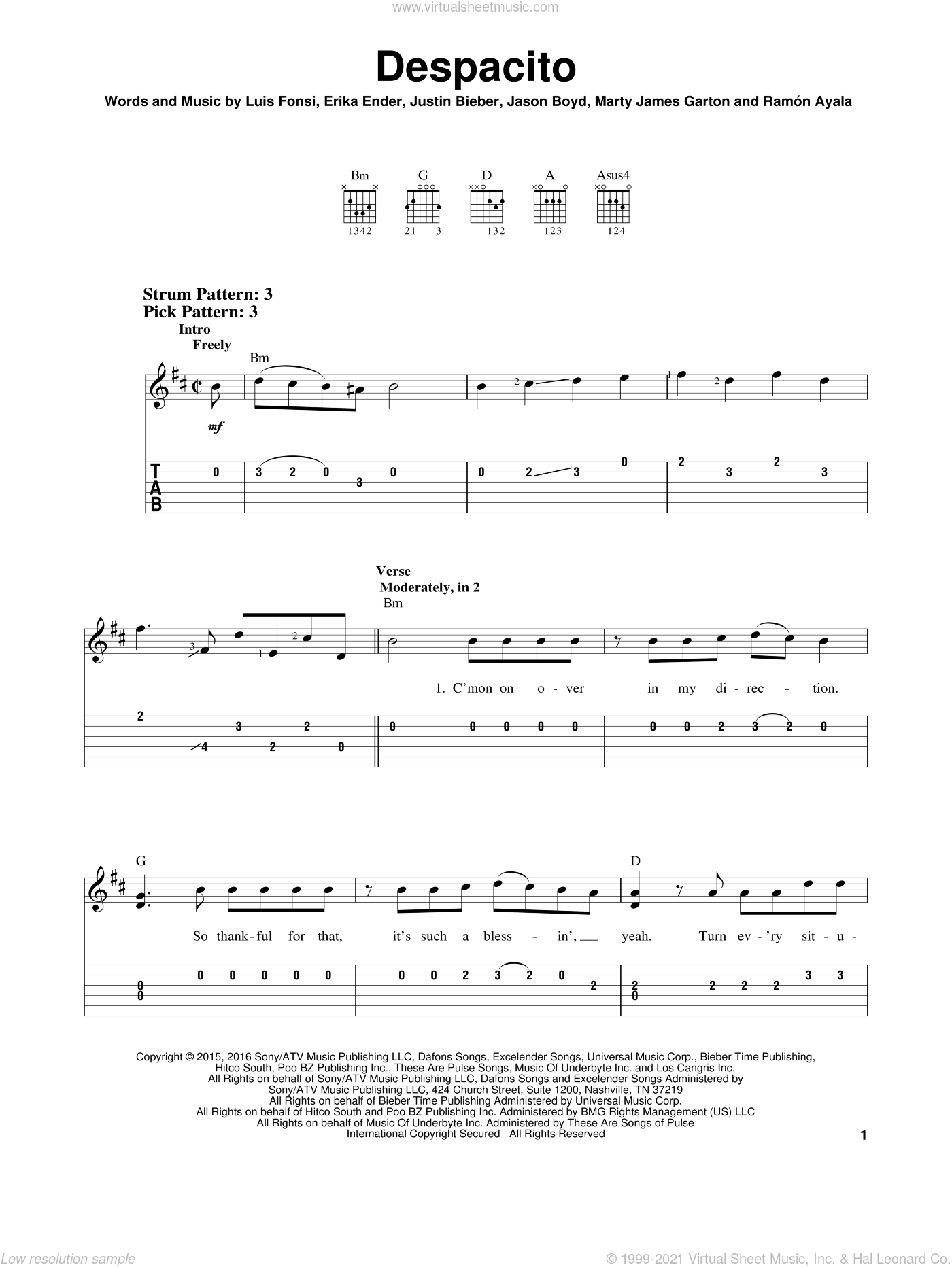 Despacito sheet music for guitar solo (easy tablature) by Luis Fonsi & Daddy Yankee feat. Justin Bieber, Erika Ender, Luis Fonsi and Ramon Ayala, easy guitar (easy tablature)