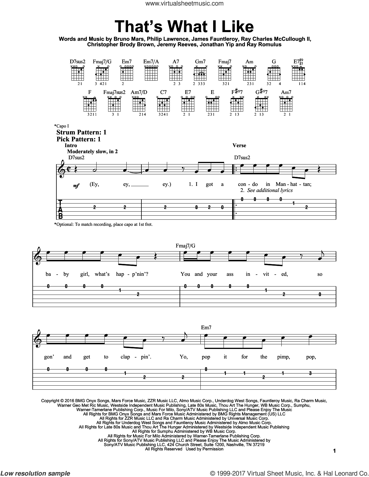 That's What I Like sheet music for guitar solo (easy tablature) by Bruno Mars, Christopher Brody Brown, James Fauntleroy, Jeremy Reeves, Jonathan Yip, Philip Lawrence, Ray Charles McCullough II and Ray Romulus, easy guitar (easy tablature)