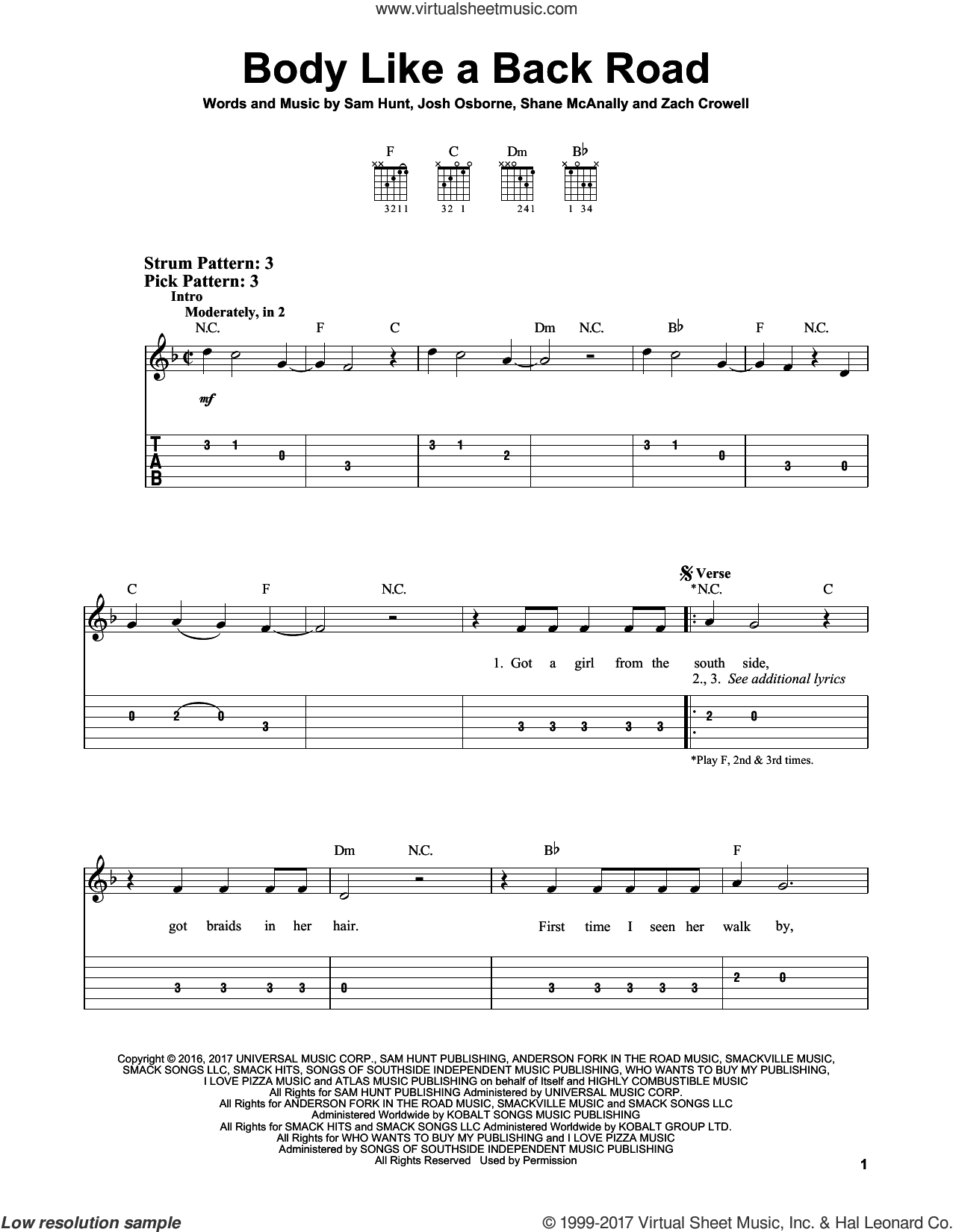 Body Like A Back Road sheet music for guitar solo (easy tablature) by Sam Hunt, Josh Osborne, Shane McAnally and Zach Crowell, easy guitar (easy tablature)