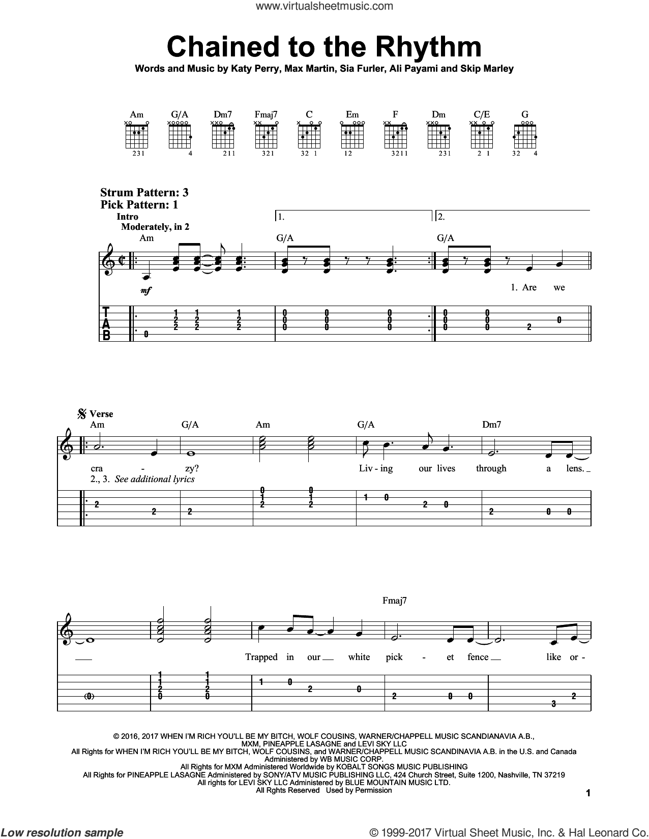 Chained To The Rhythm sheet music for guitar solo (easy tablature) by Katy Perry, Ali Payami and Max Martin, easy guitar (easy tablature). Score Image Preview.
