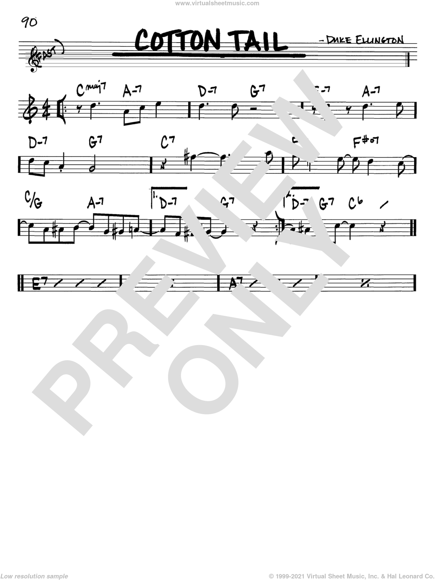 Cotton Tail sheet music for voice and other instruments (in Bb) by Duke Ellington, intermediate skill level