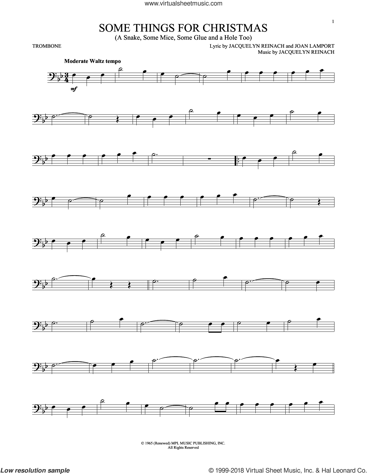 Some Things For Christmas (A Snake, Some Mice, Some Glue And A Hole Too) sheet music for trombone solo by Jacquelyn Reinach and Joan Lamport, intermediate skill level