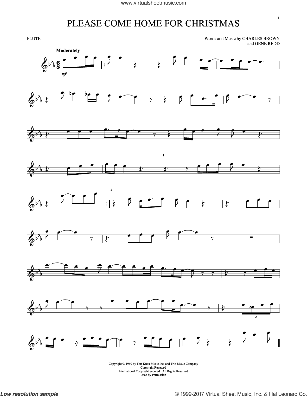 Please Come Home For Christmas sheet music for flute solo by Charles Brown, Josh Gracin, Martina McBride, Willie Nelson and Gene Redd, intermediate skill level