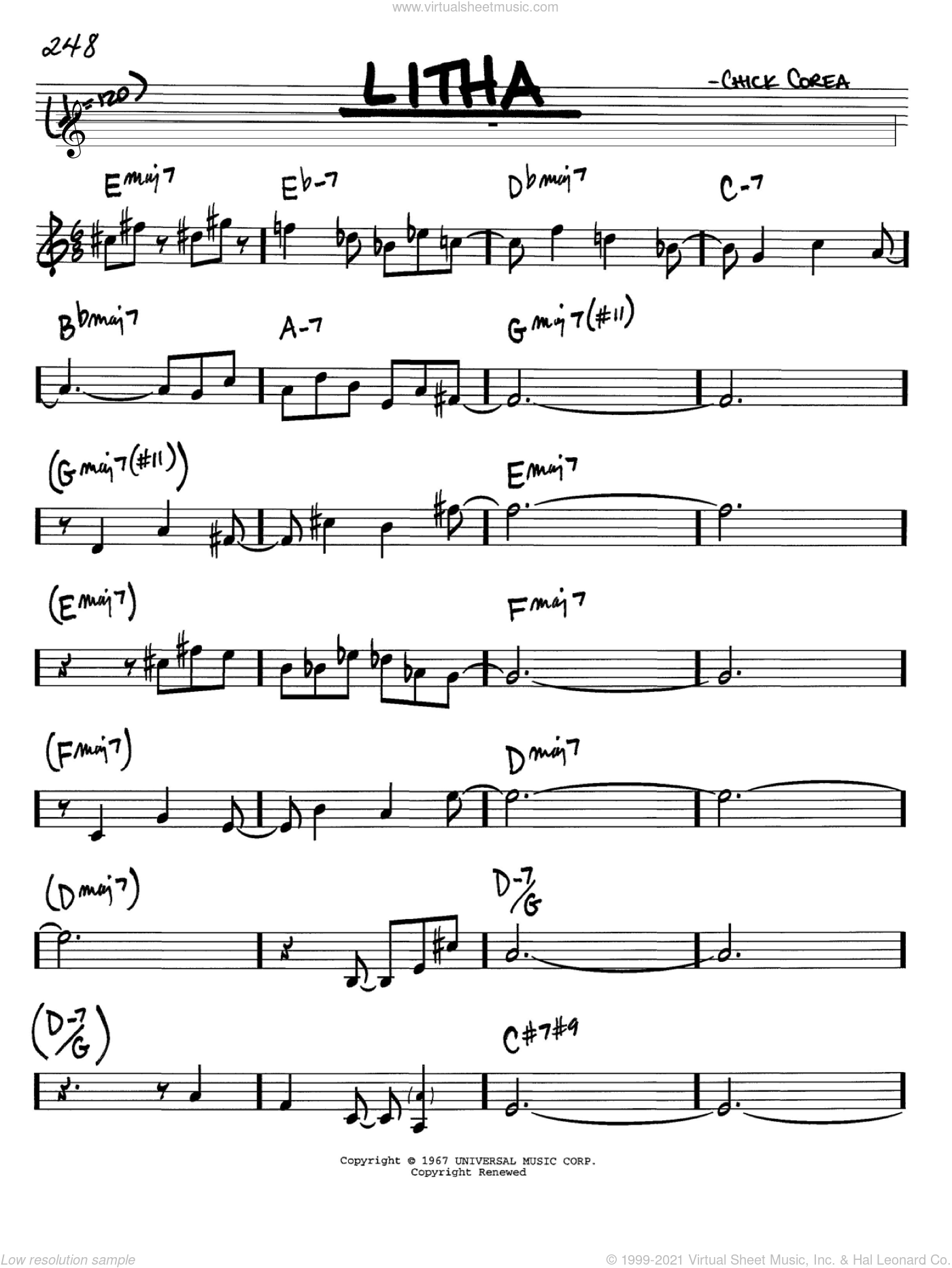 Litha sheet music for voice and other instruments (in Bb) by Chick Corea, intermediate skill level