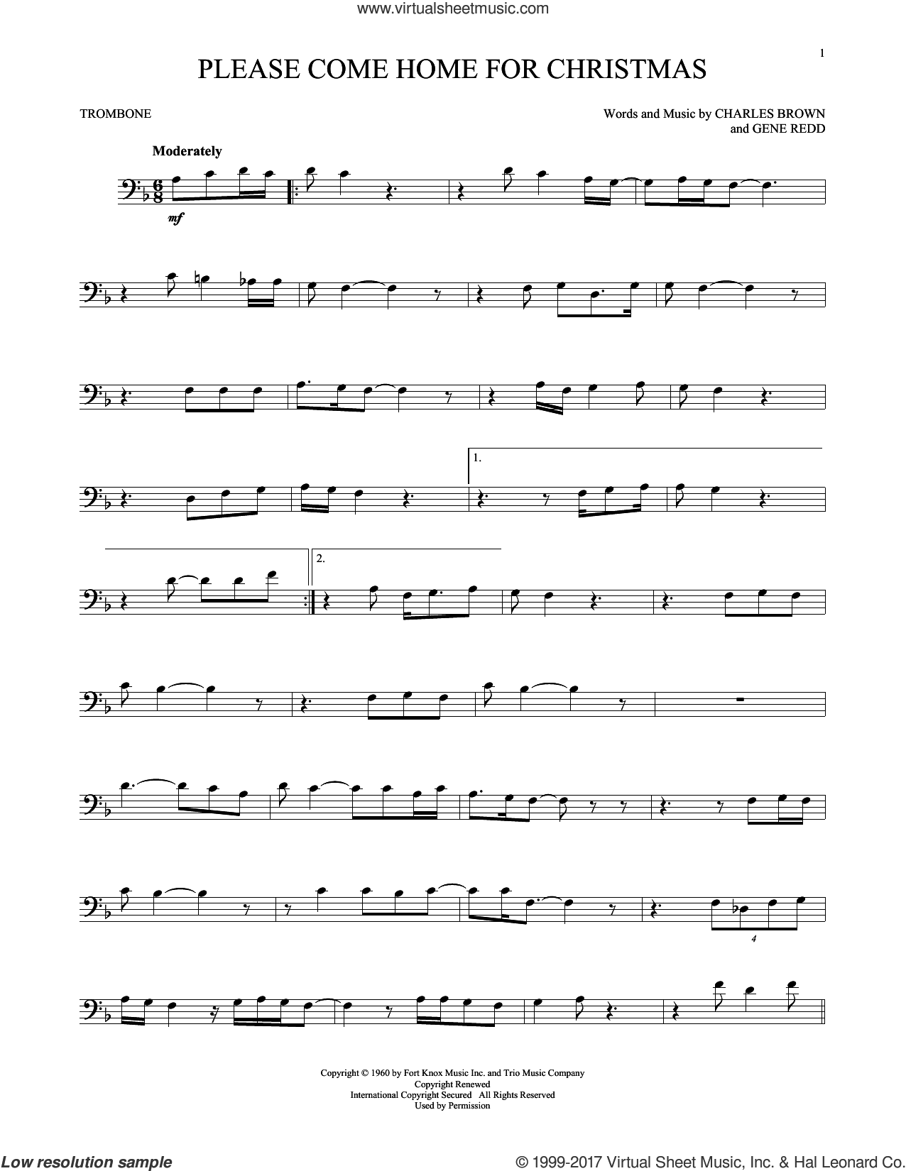 Please Come Home For Christmas sheet music for trombone solo by Charles Brown, Josh Gracin, Martina McBride, Willie Nelson and Gene Redd, intermediate skill level