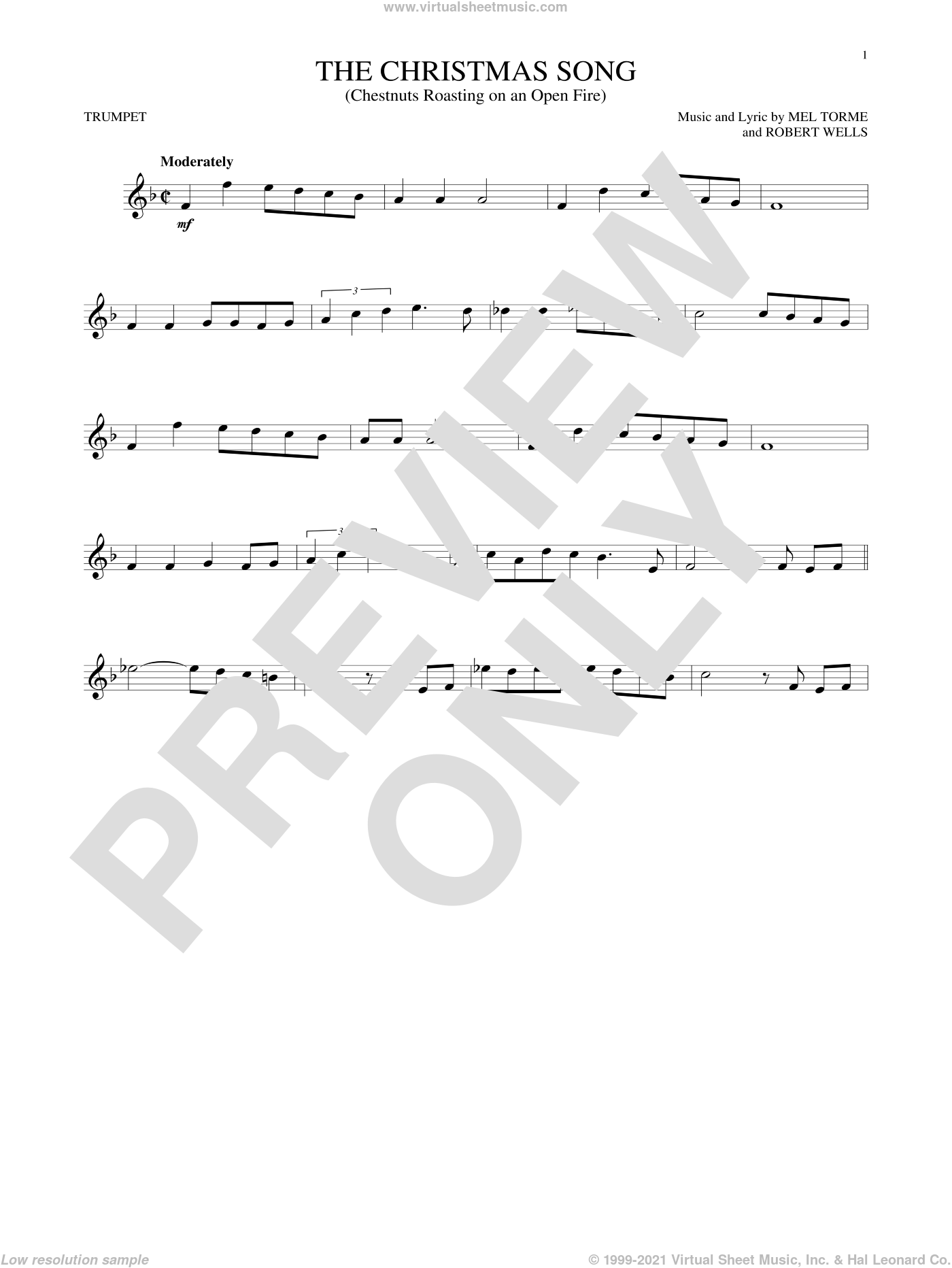 The Christmas Song (Chestnuts Roasting On An Open Fire) sheet music for trumpet solo by Mel Torme and Robert Wells, intermediate. Score Image Preview.